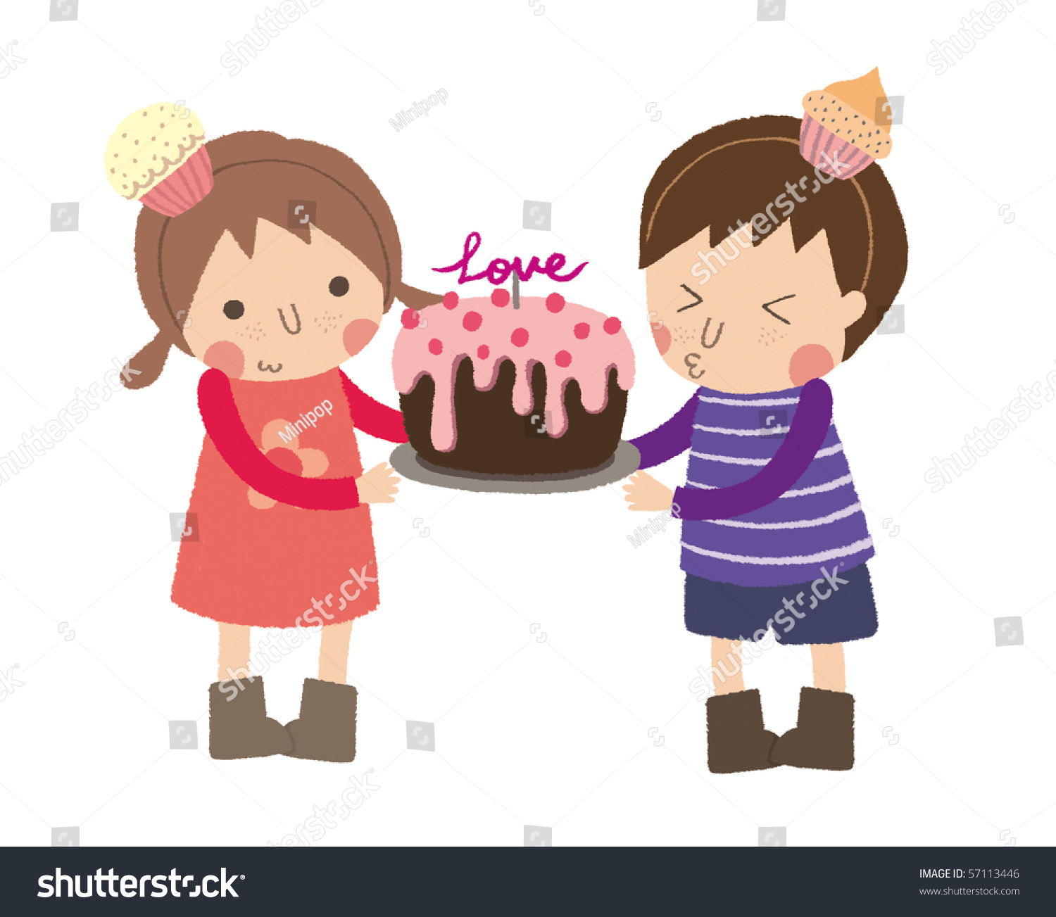 Little Girl Give Little Boy A Cake For Stock Photo 57113446