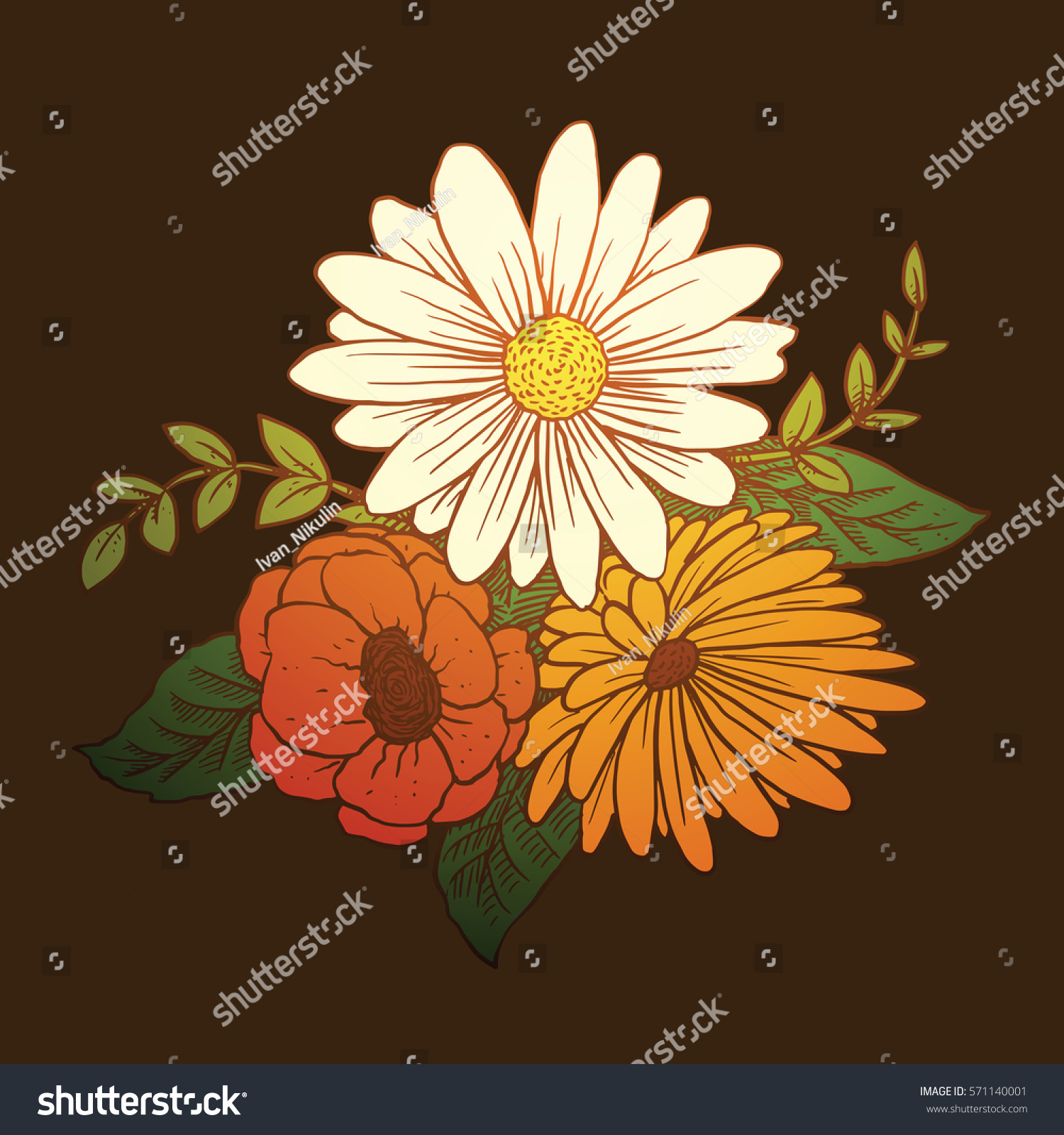 Vector image beautiful bouquet different types stock vector royalty vector image of a beautiful bouquet of different types of flowers white daisies red izmirmasajfo