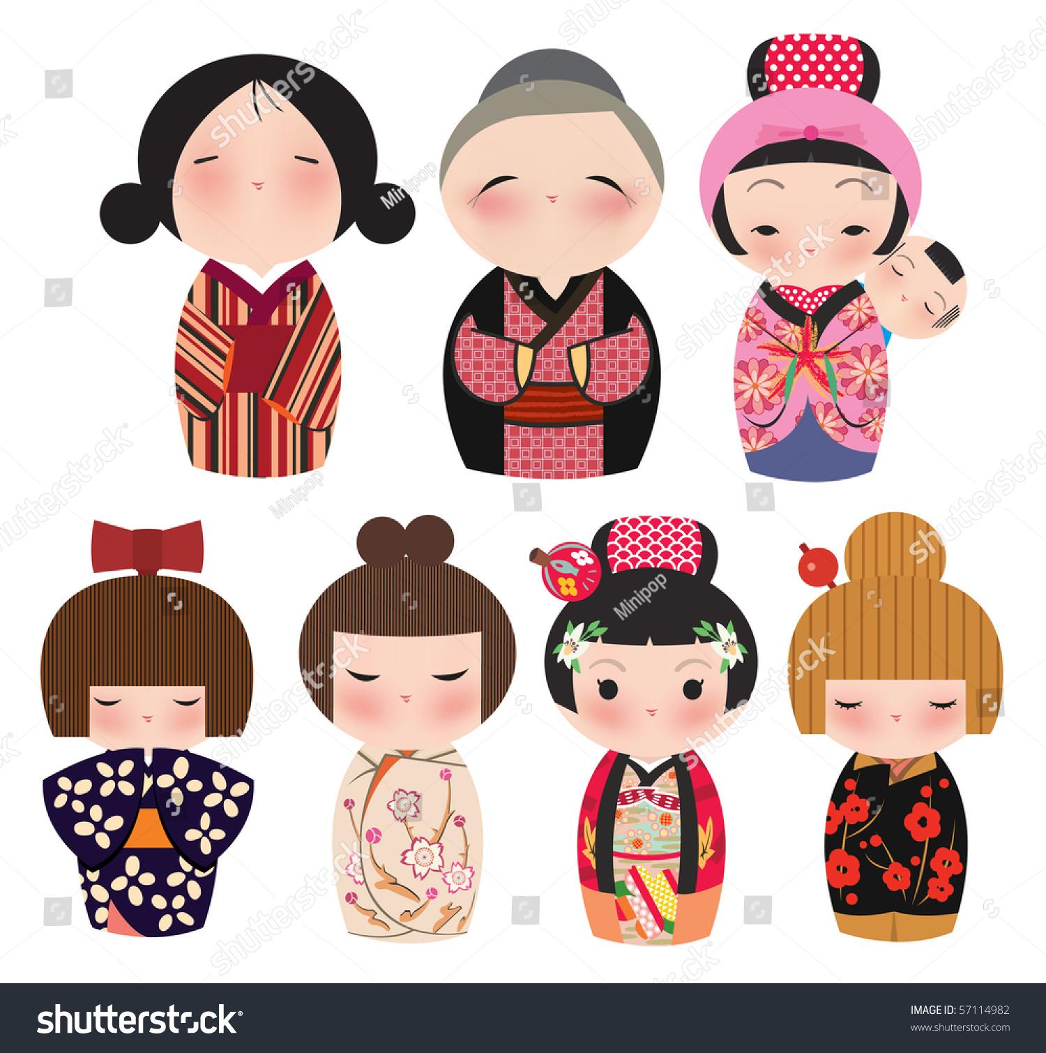 A Series Of Cute Japanese Kokeshi Characters