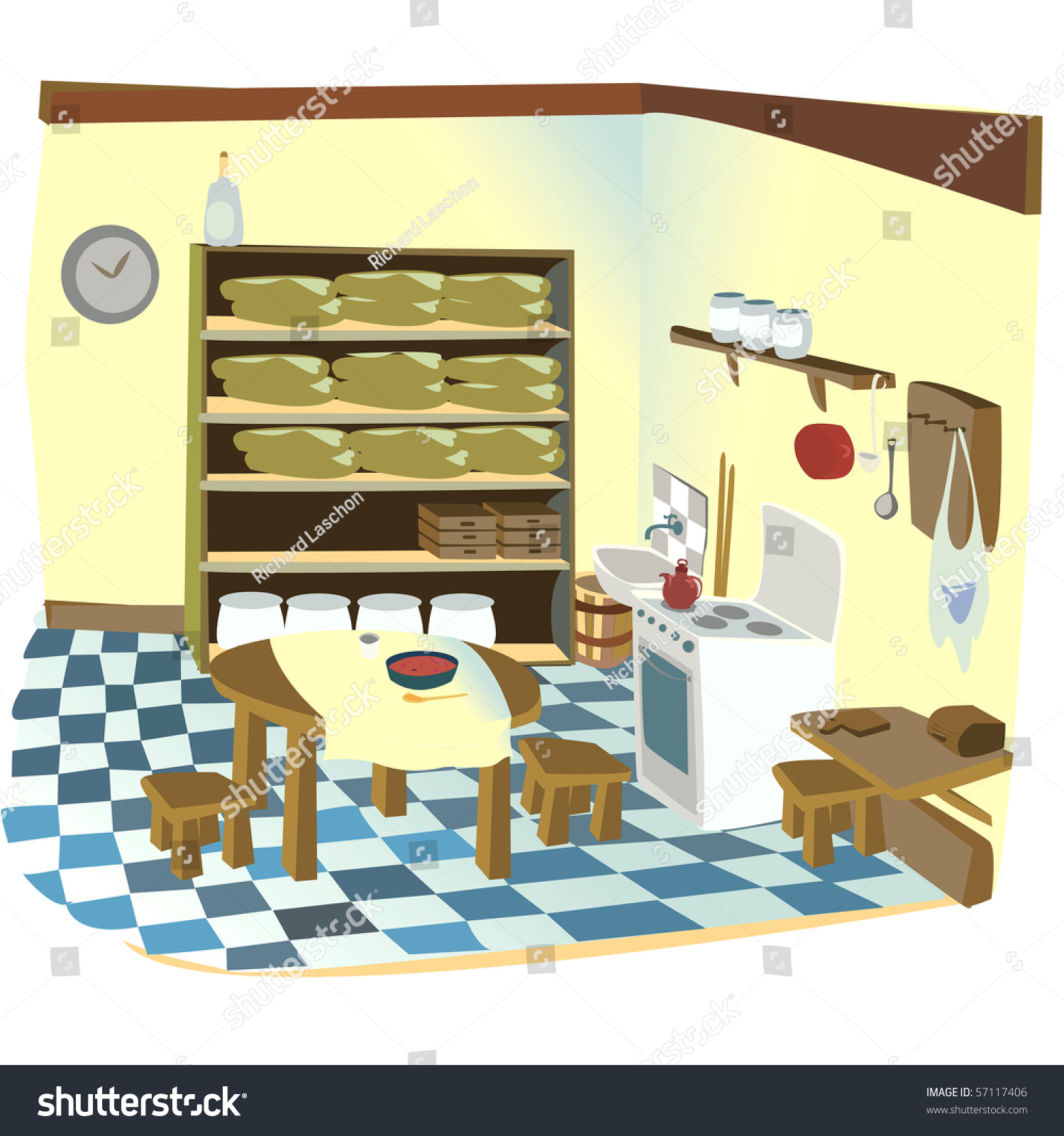 Kitchen Cabinet Clip Art: Cartoon Illustration Old Rustic Kitchen Stock Illustration