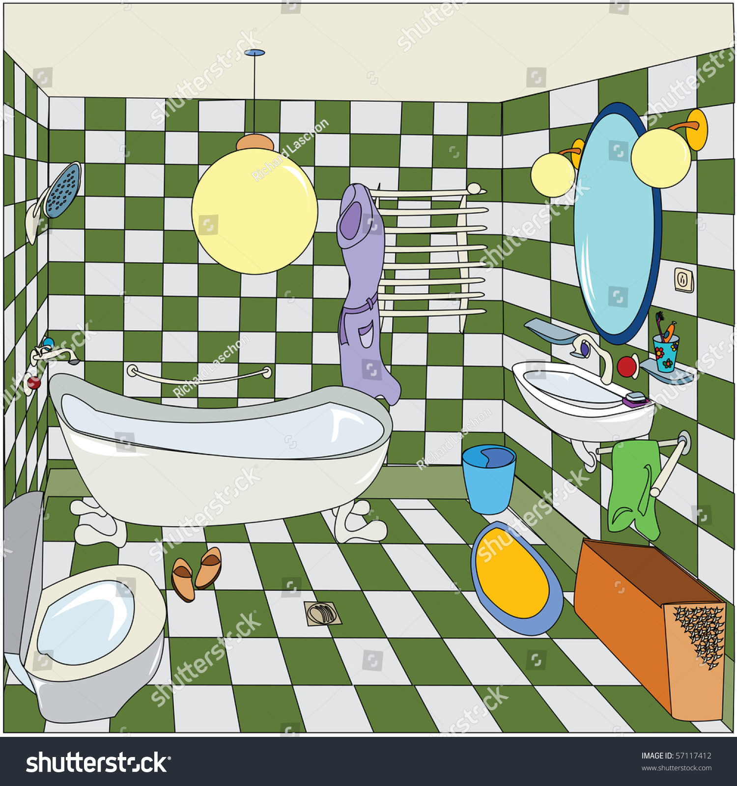 Cartoon Sketch Of A Bathroom Stock Photo 57117412 ...