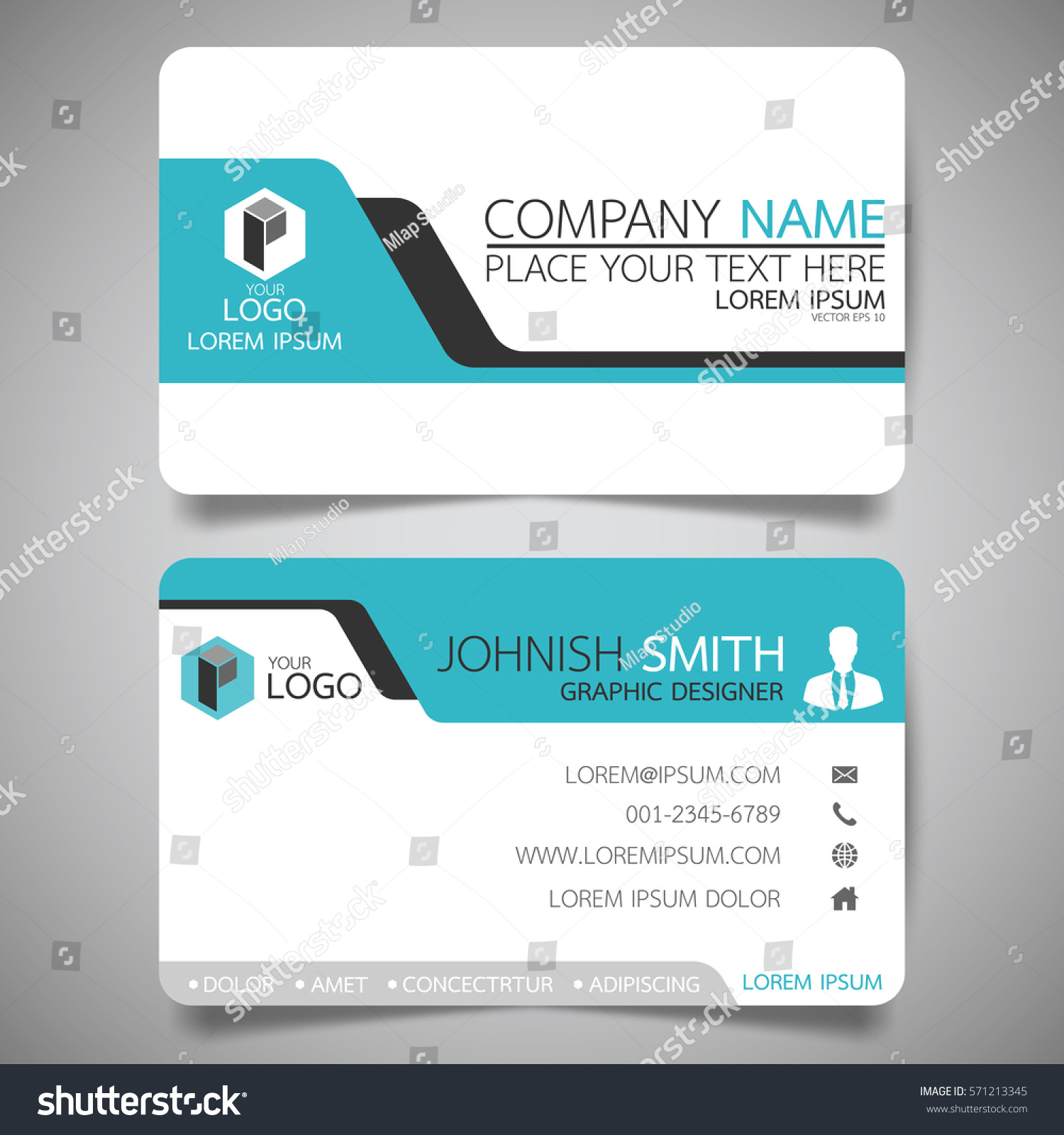 Blue Modern Creative Business Card Name Stock Vector 571213345 ...