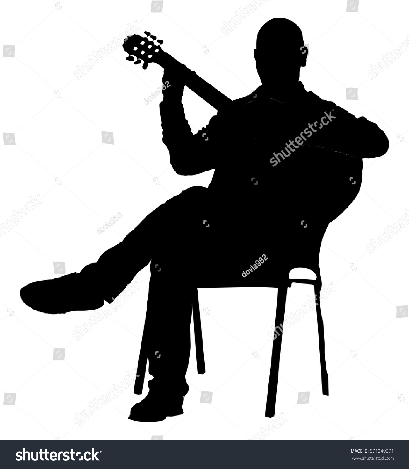 Music Man Sitting On Chair Guitar Stock Vector 571249291 ...