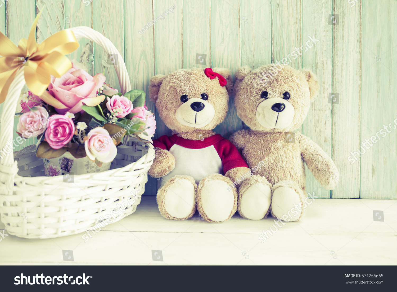 Lovely couple teddy bears beautiful flowers stock photo edit now lovely couple teddy bears and beautiful flowers on soft background izmirmasajfo