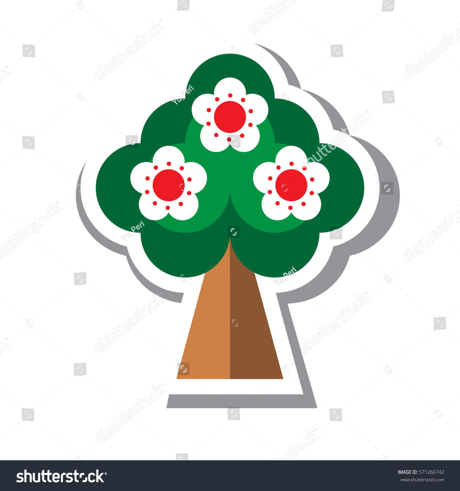 Spring Fruit Tree Blossoms Icon Flat Stock Vector 571266742 ...