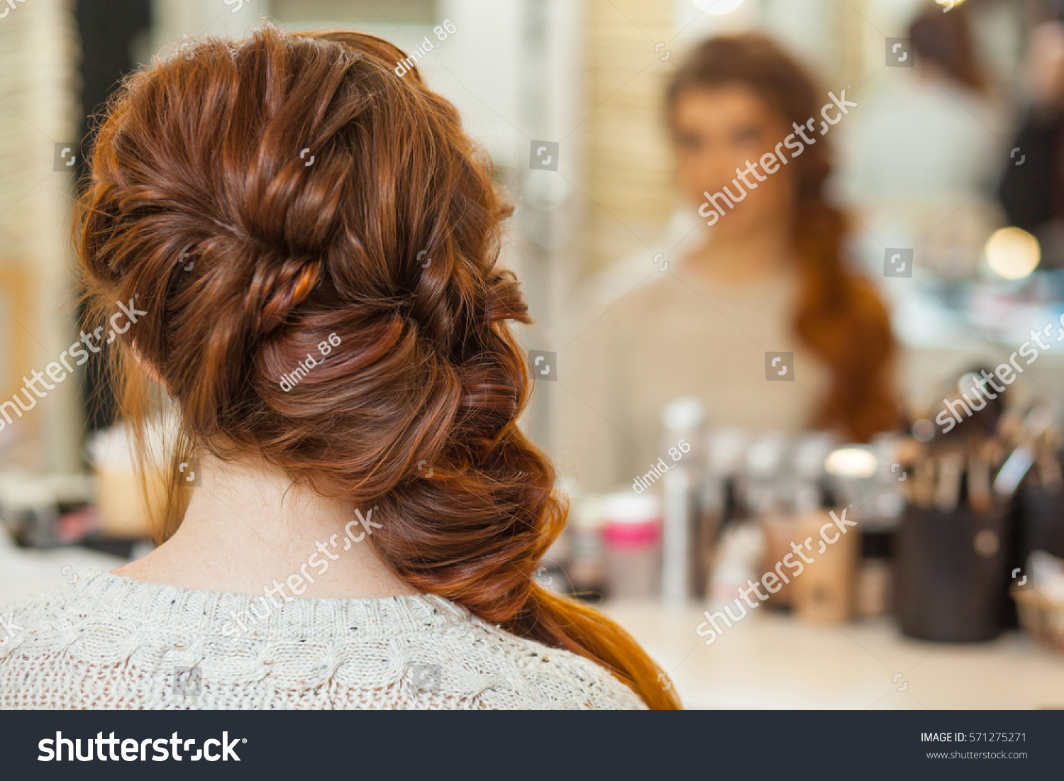 Beautiful Long Redhaired Hairy Girl Hairdresser Stock Photo