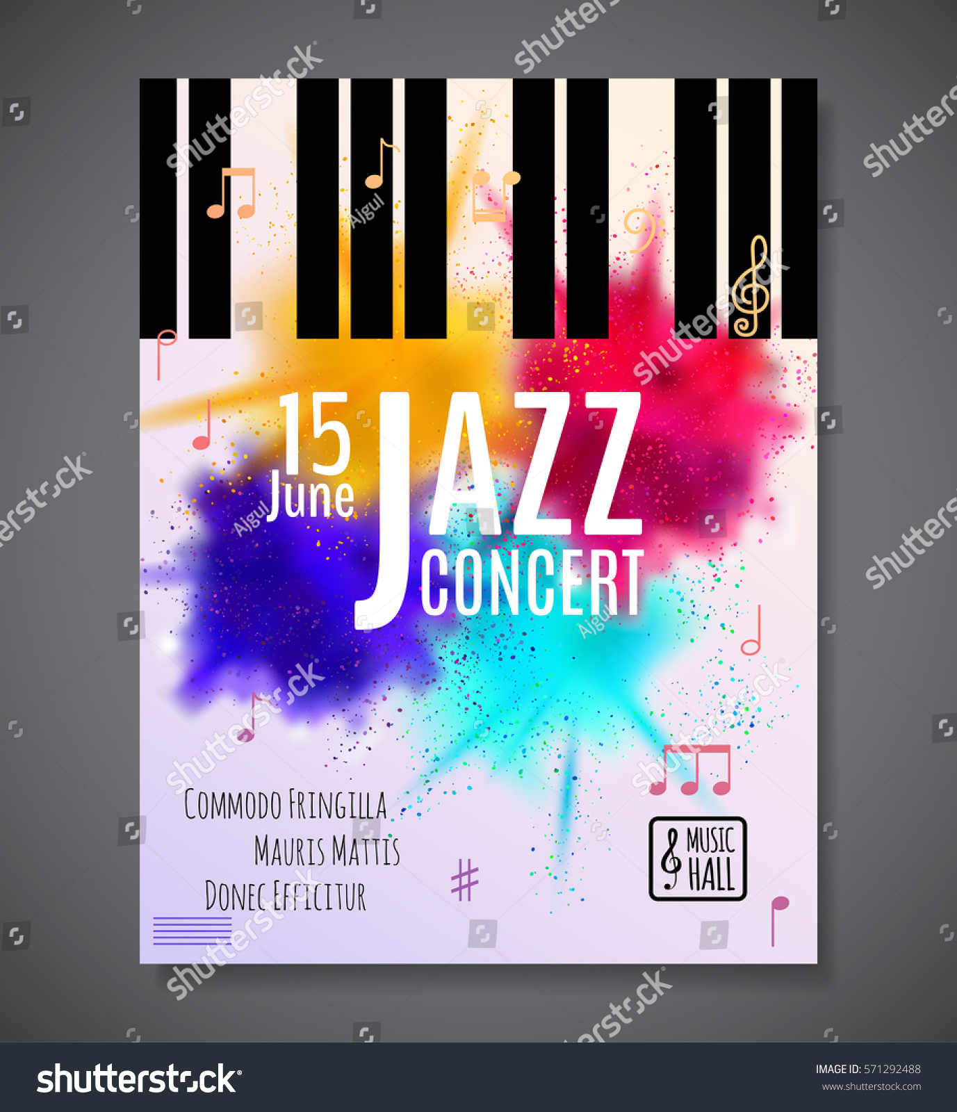 Poster design notes - Jazz Music Concert Poster Background Template Keyboard With Music Notes Flyer Vector Design