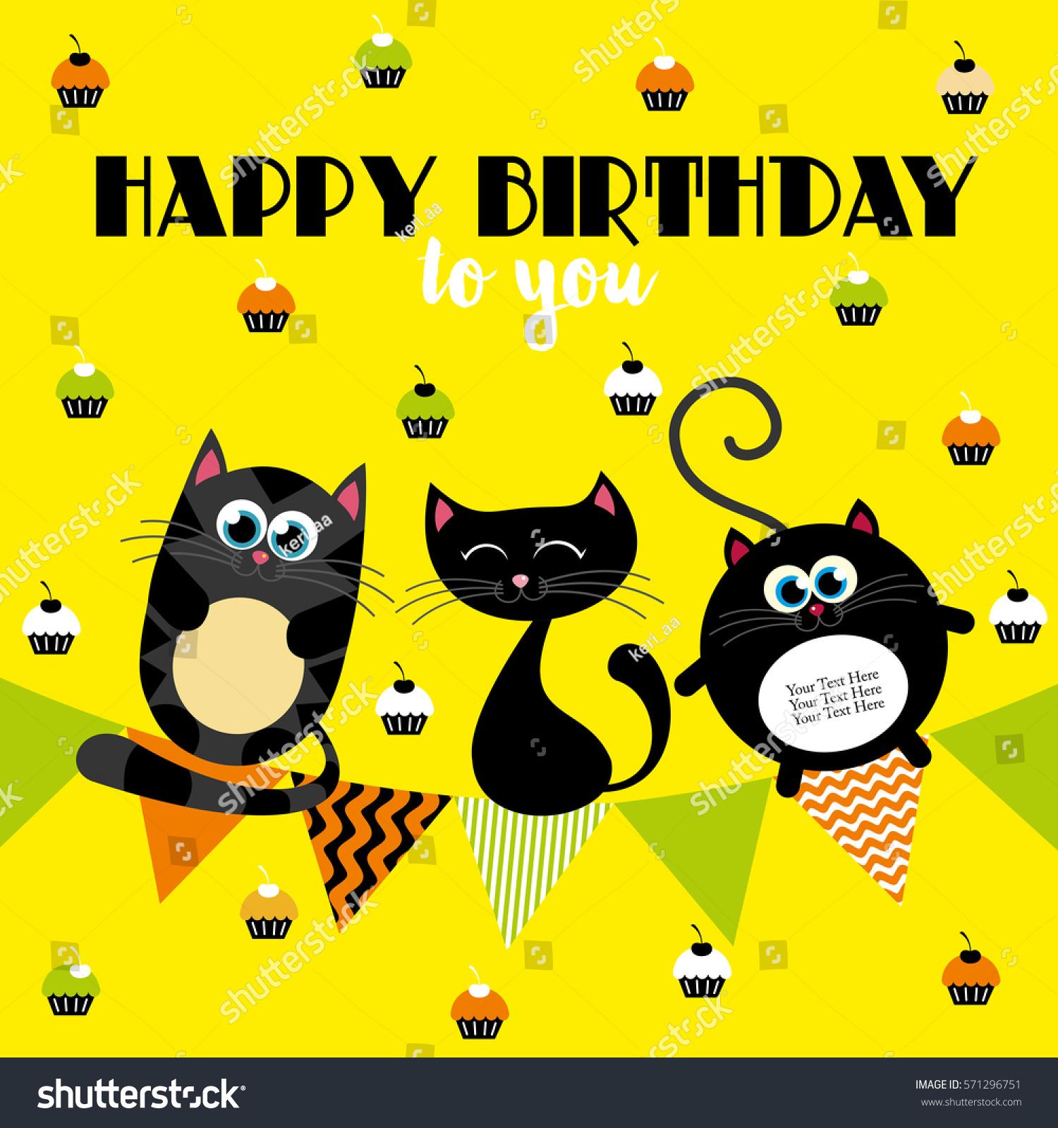 Cute Creative Cards Templates Happy Birthday Stock Photo Photo