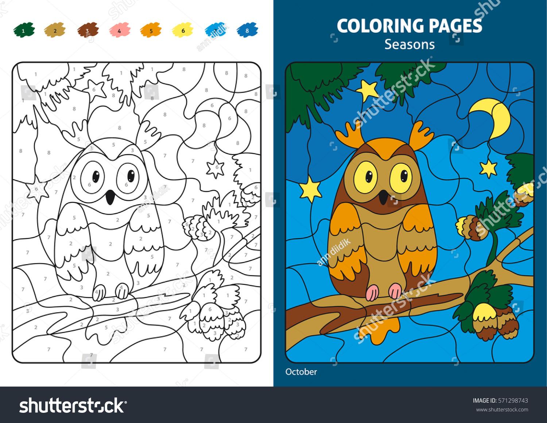 Seasons Coloring Page Kids Printable Design Stock Vector Royalty