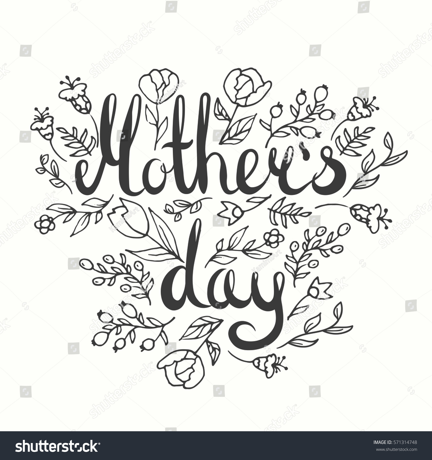 Mothers day lettering card modern calligraphy stock