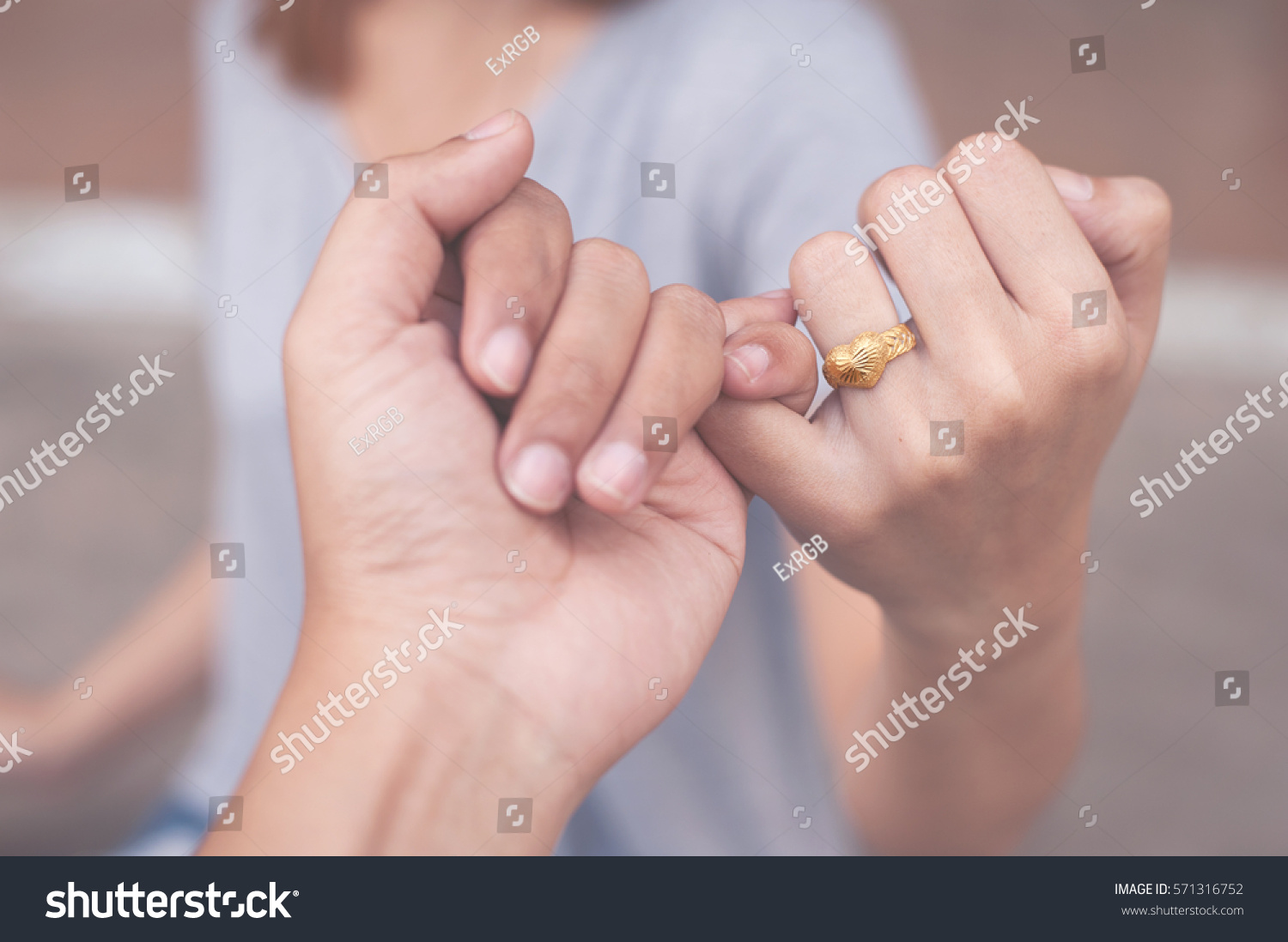 Gold Heart Ring Finger Girl Valentines Stock Photo (Download Now ...