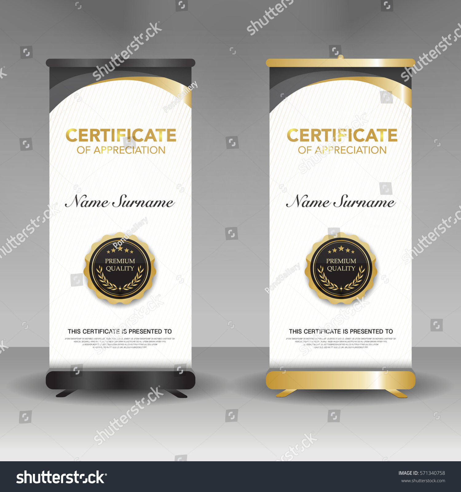 Diploma Certificate Template Roll Banner Stand Stock Vector ...