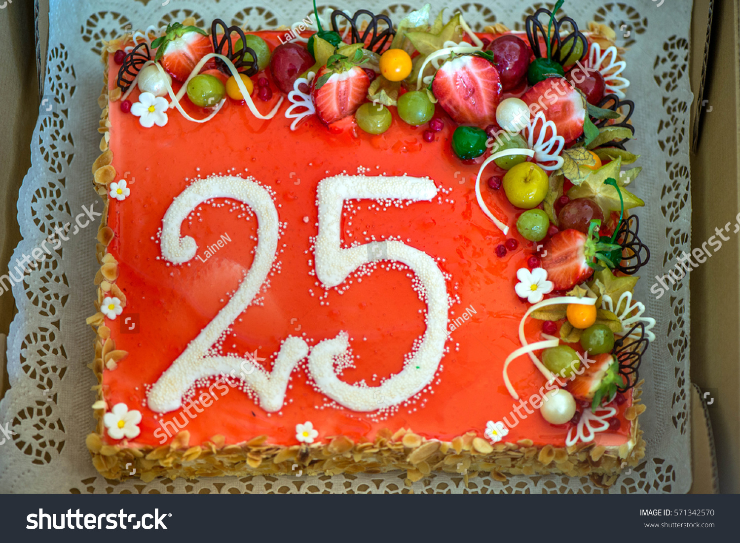 Delicious Baked Anniversary Birthday Cake With Fruits Strawberries Blueberries Cherries Green