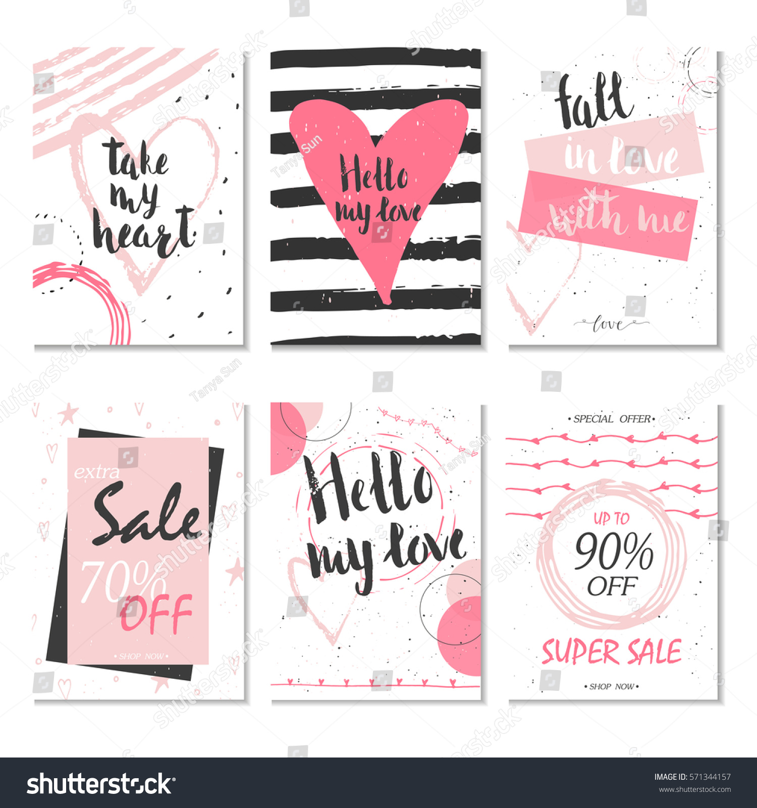 Collection 6 Discount Cards Design Can Stock Vector 571344157 ...