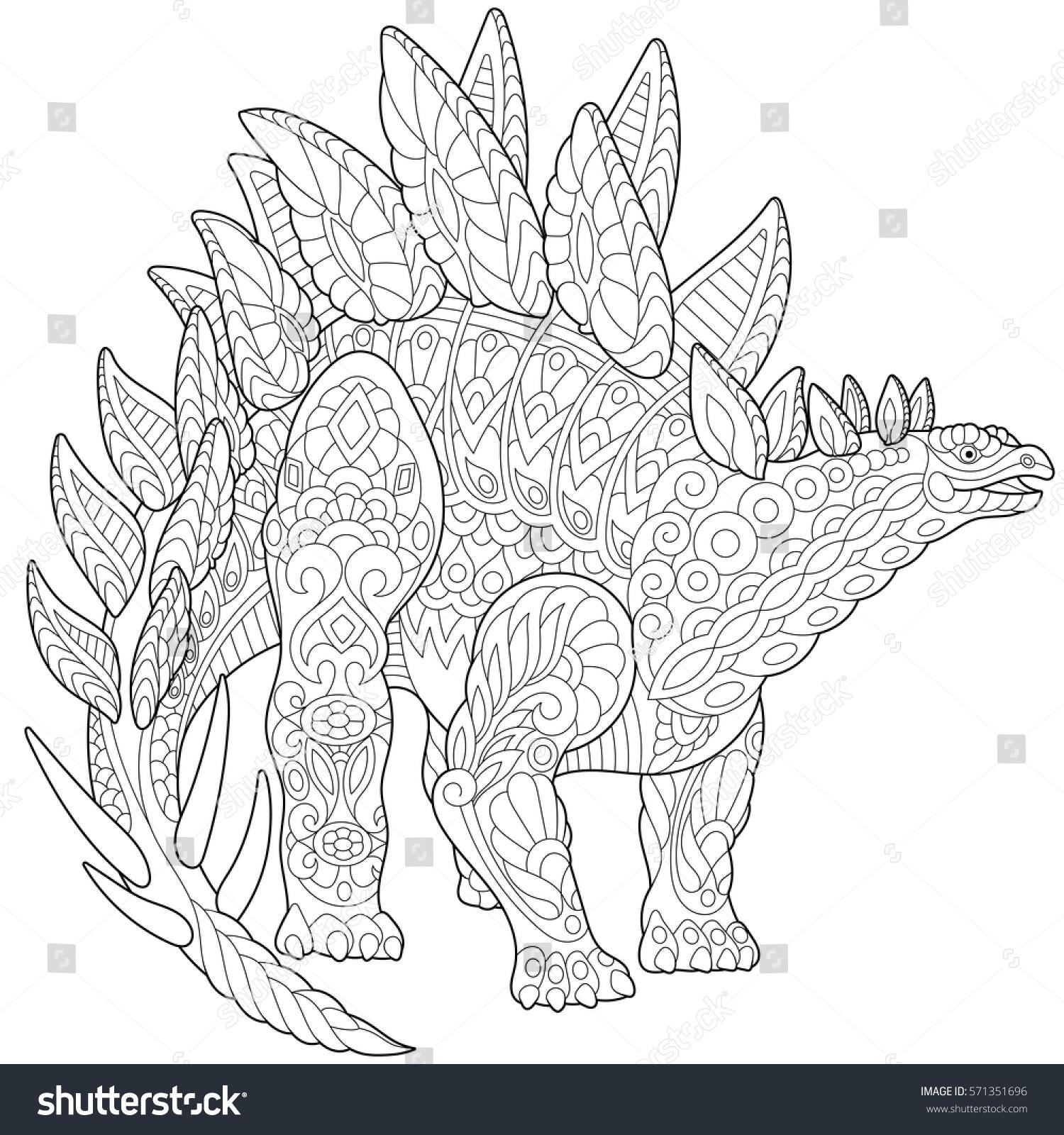 Stylized Stegosaurus Dinosaur Jurassic Early Cretaceous Stock Vector