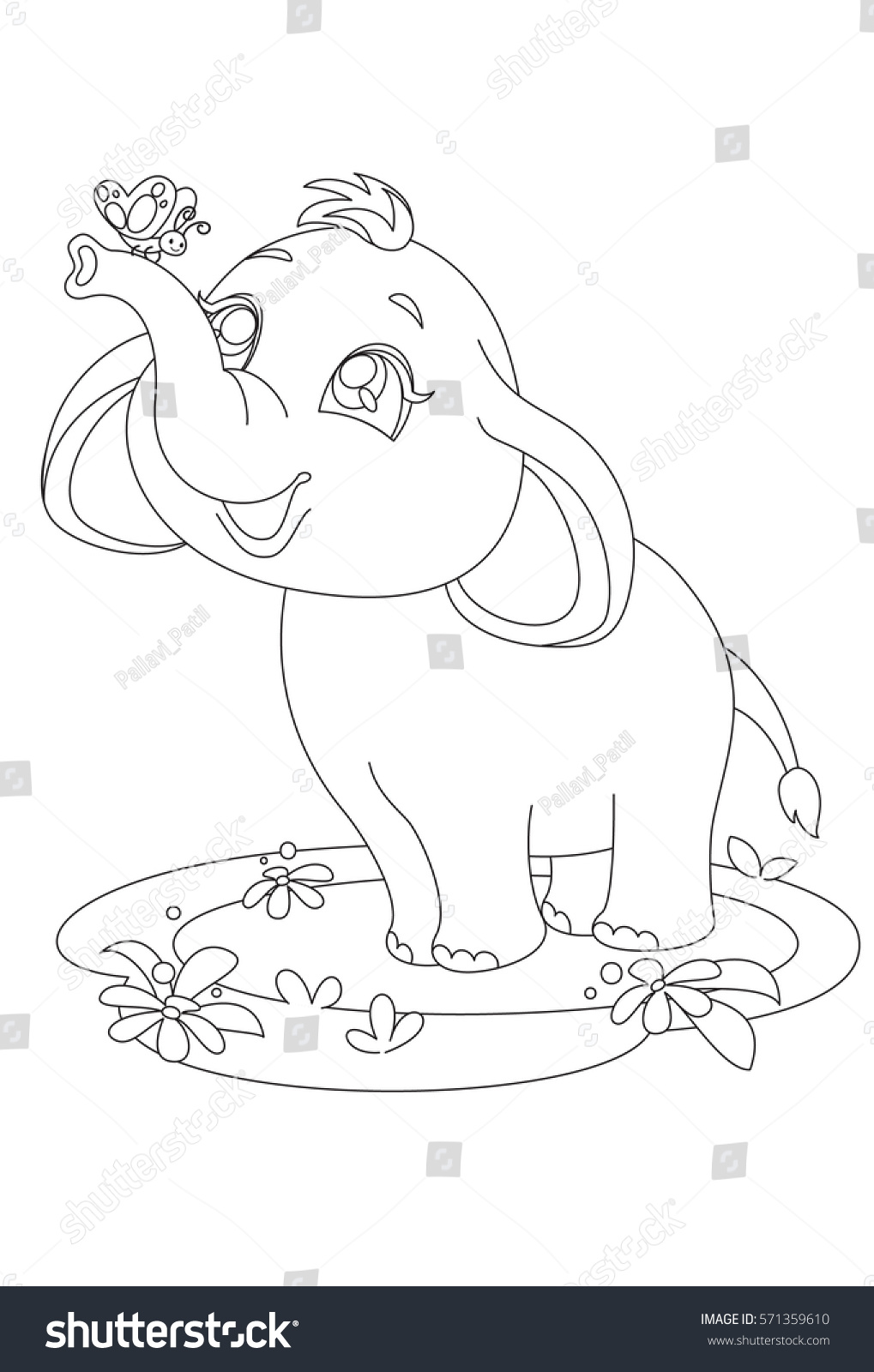 cute baby elephant butterfly outline drawing stock vector