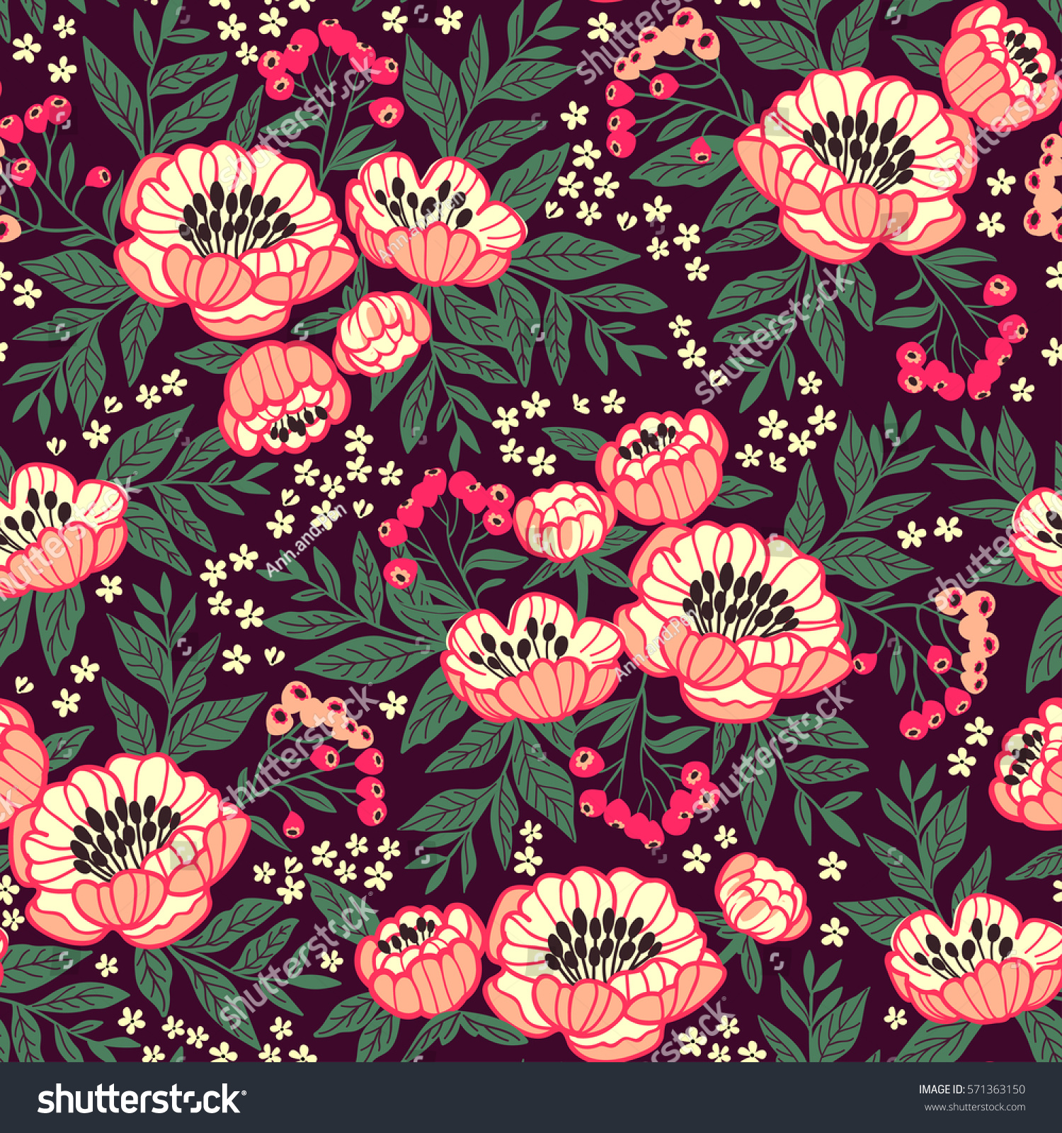 Seamless Floral Pattern Peonies Peony Flowers Stock Vector 571363150