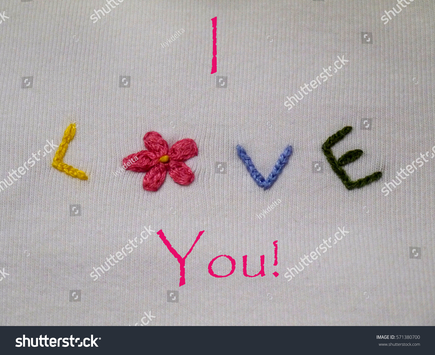 Hand Embroidery On White Fabric Embroidered Stock Photo Edit Now