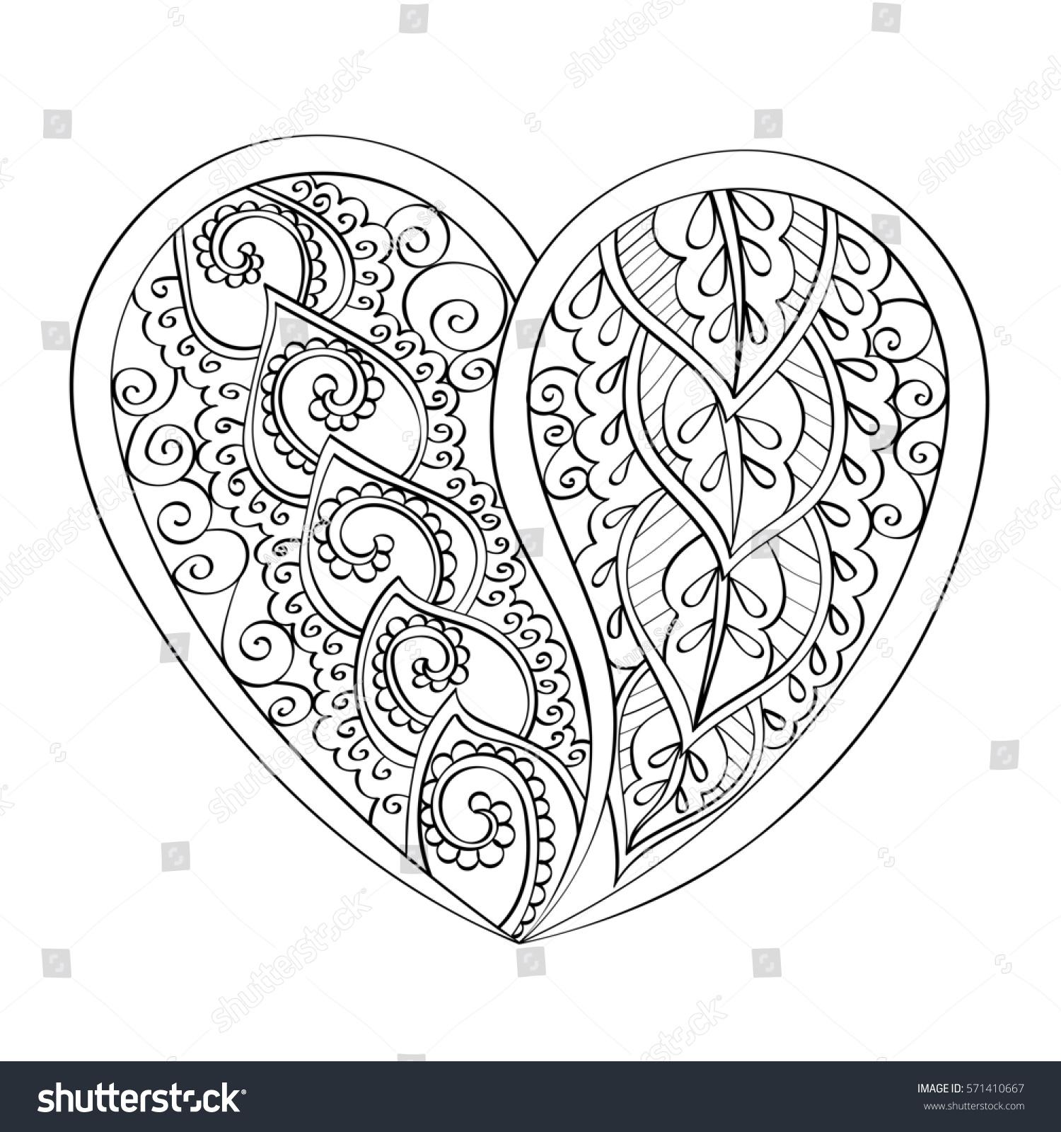Mandala Heart Indian Patter Coloring Book Stockillustration ...