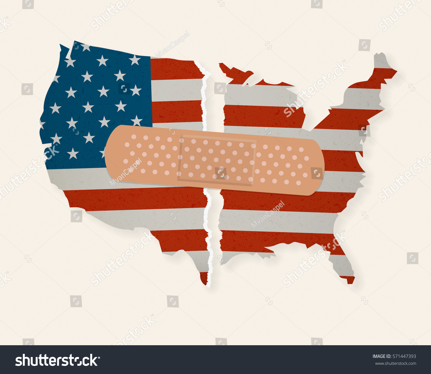 American Flag Map Torn Apart Patched Stock Vector - Us flag map