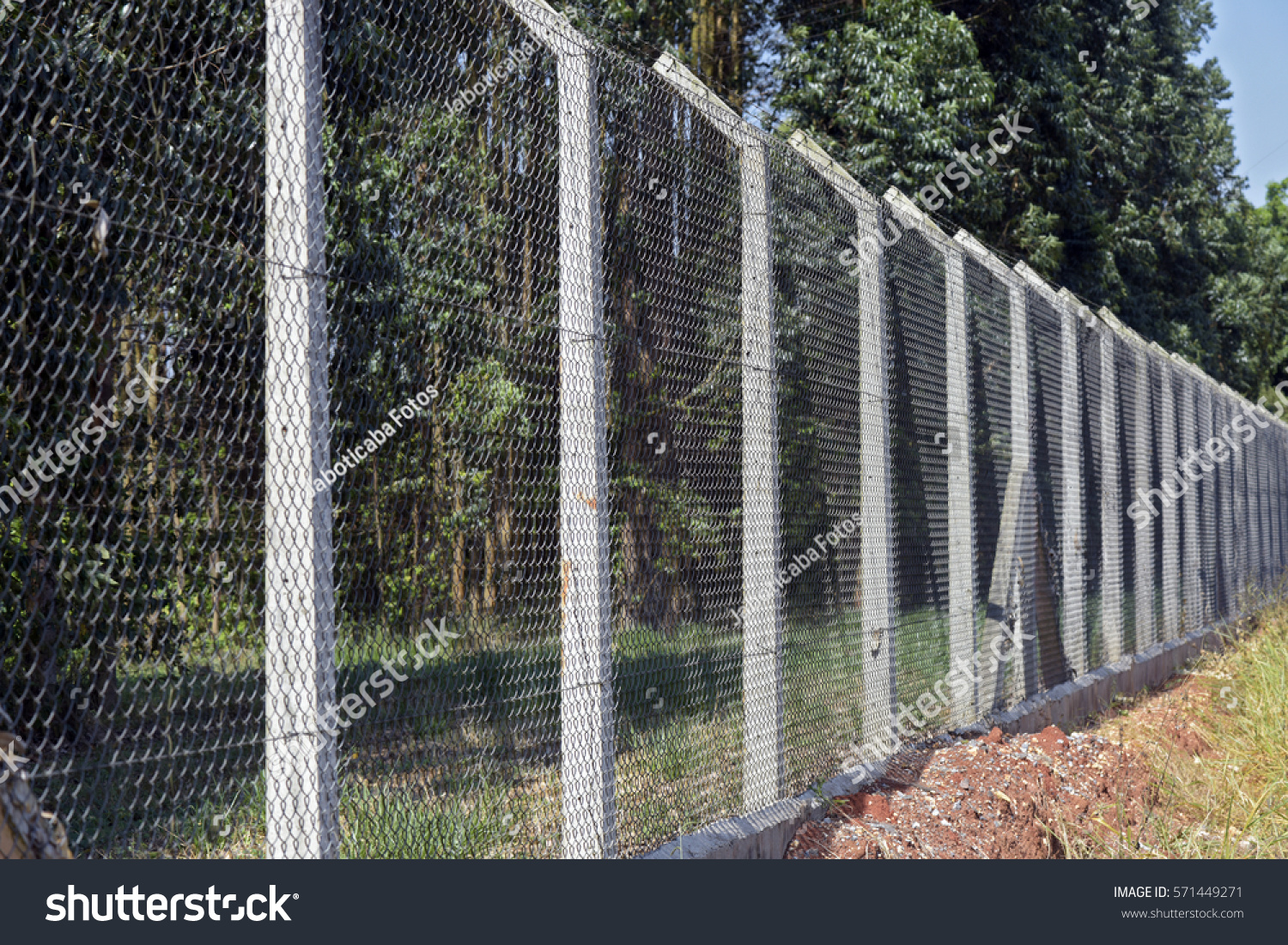 Wire Mesh Fence Concrete Post Protect Stock Photo (Royalty Free ...