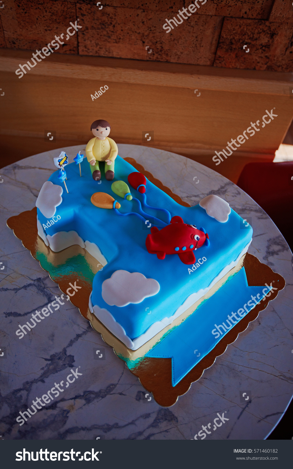 Birthday Cake 1 Year Old Boy Stock Photo Edit Now 571460182