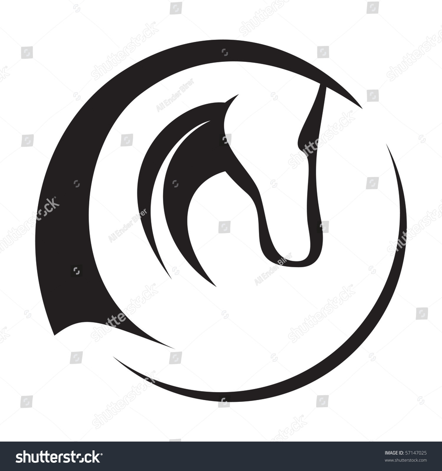 Race Horse Head Silhouette A silhouette drawing of a horse head. stock ...