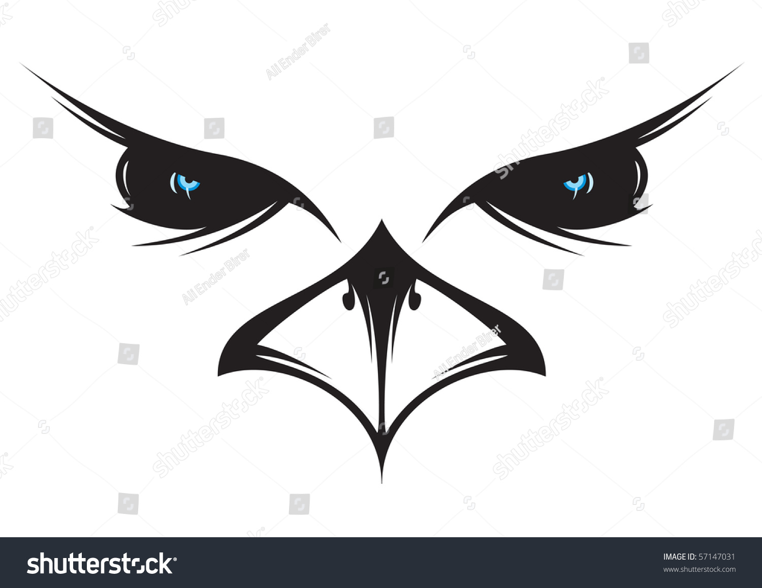 Silhouette Drawing Owl Face Stock Vector 57147031 ...