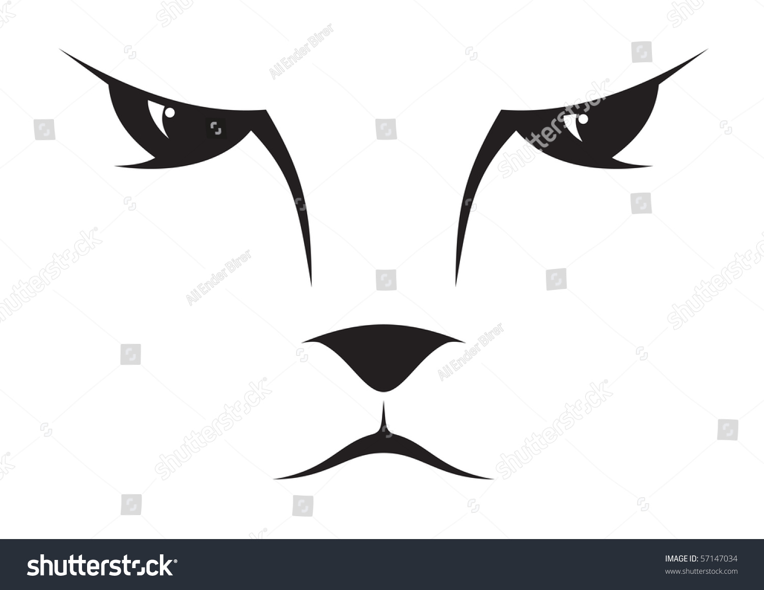 Silhouette Drawing Cat Face Stock Vector 57147034 Shutterstock