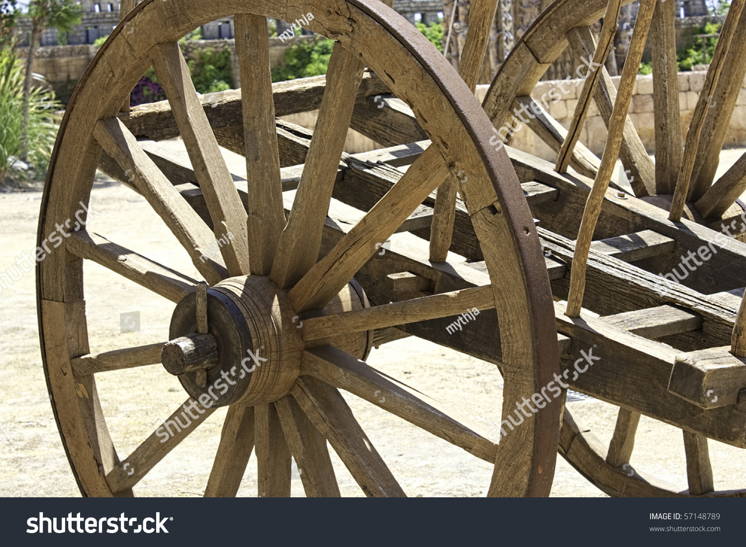 Old Wooden Cart Close Large Wooden Stock Photo 57148789