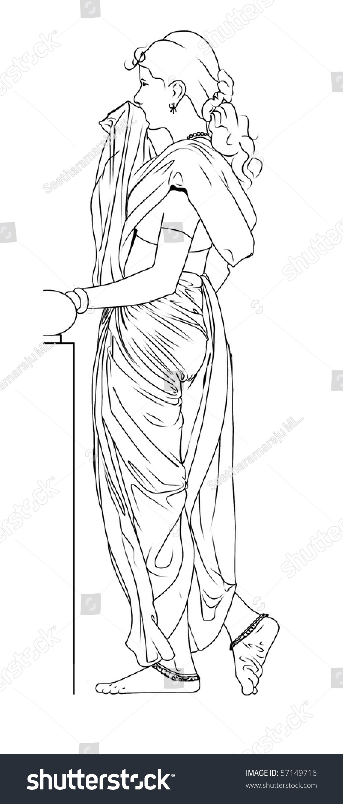 Drawing Of Young Beautiful Indian Woman With Saree Standingside View Near A