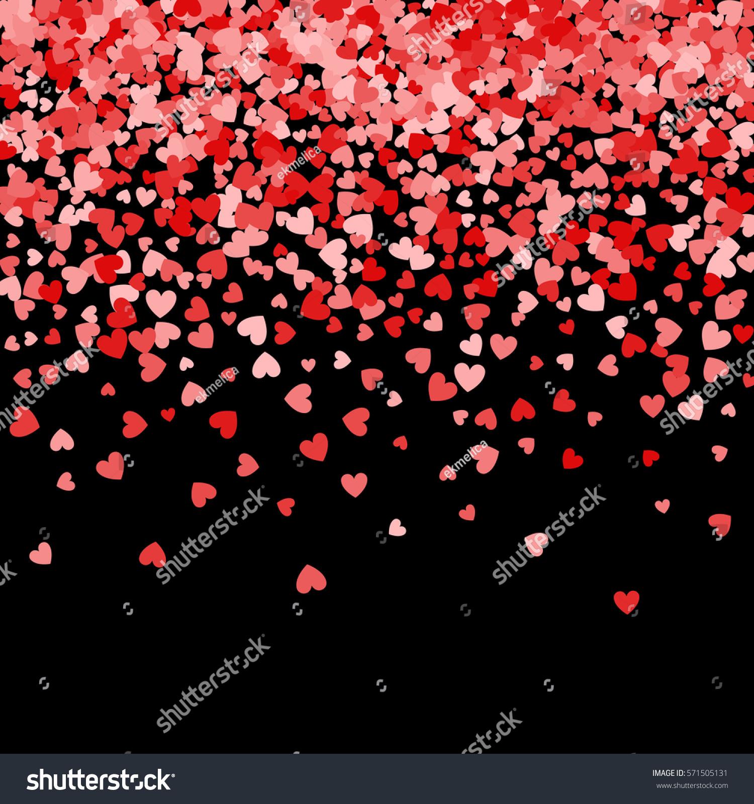 Red pattern of random falling hearts confetti. Border design element ...