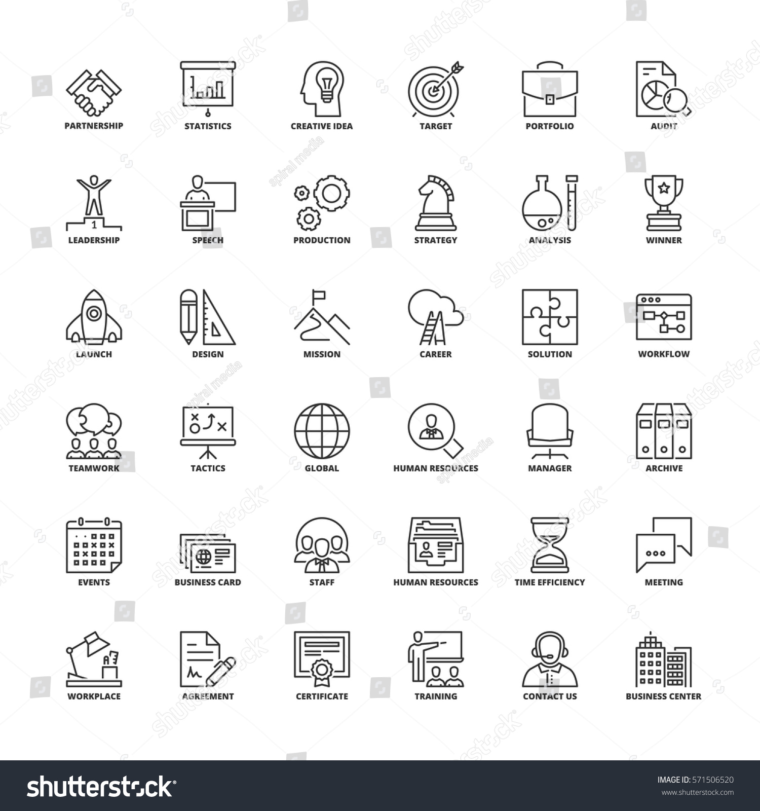 outline icons set flat symbols about stock vector