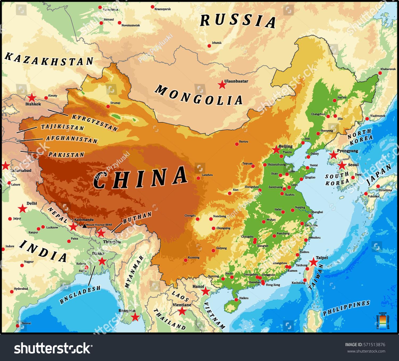 Image of: Vector De Stock Libre De Regalias Sobre China Physical Vector Map Bathymetry Main571513876