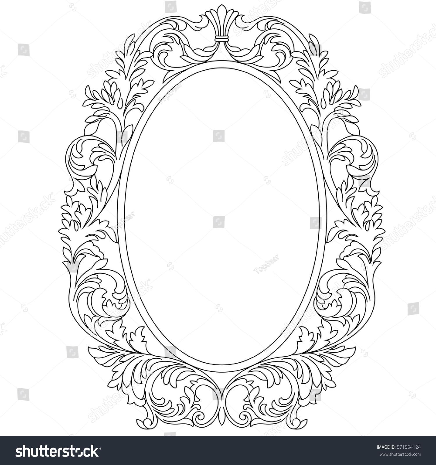 Oval Vintage Border Frame Engraving Retro Stock Vector 571554124
