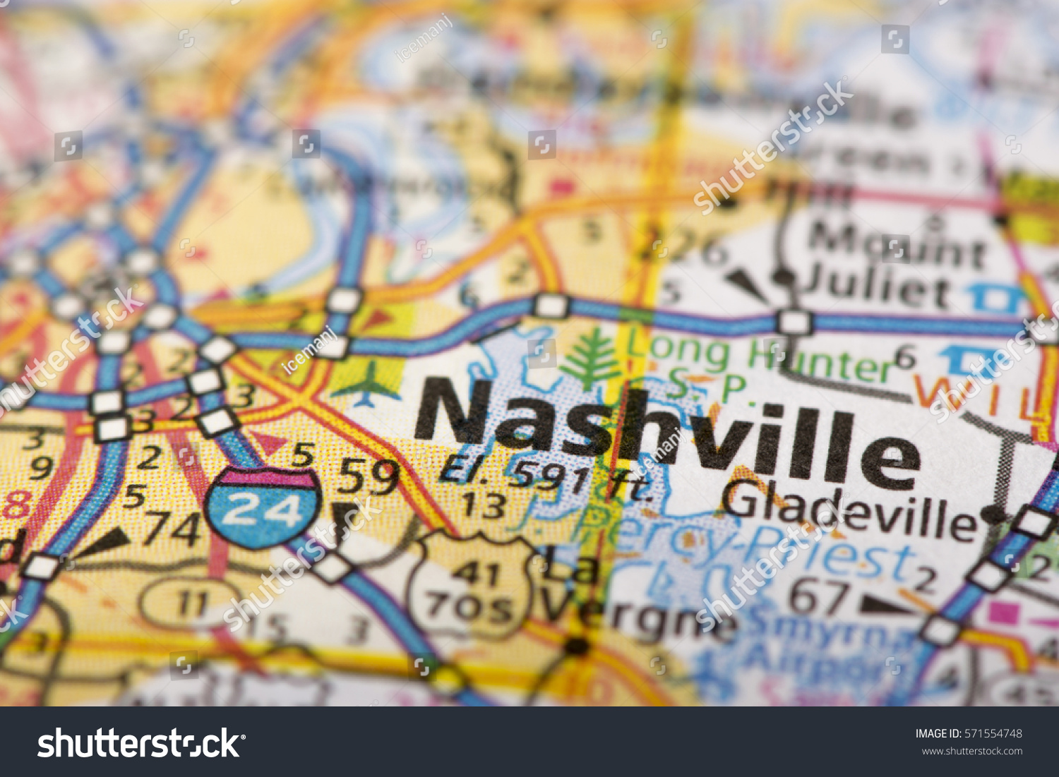 Closeup Nashville Tennessee On Road Map Stock Photo - Tennessee map united states