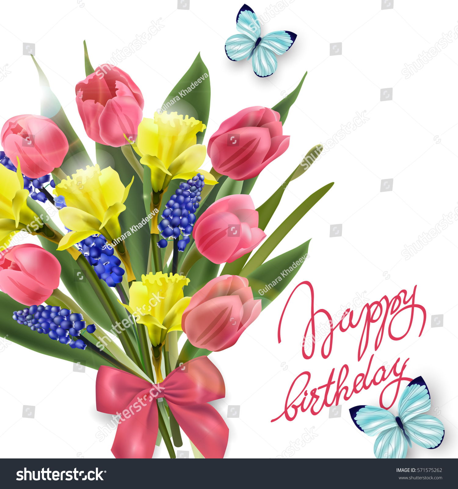 Happy Birthday Card Spring Flowers Tulips Stock Vector Royalty Free