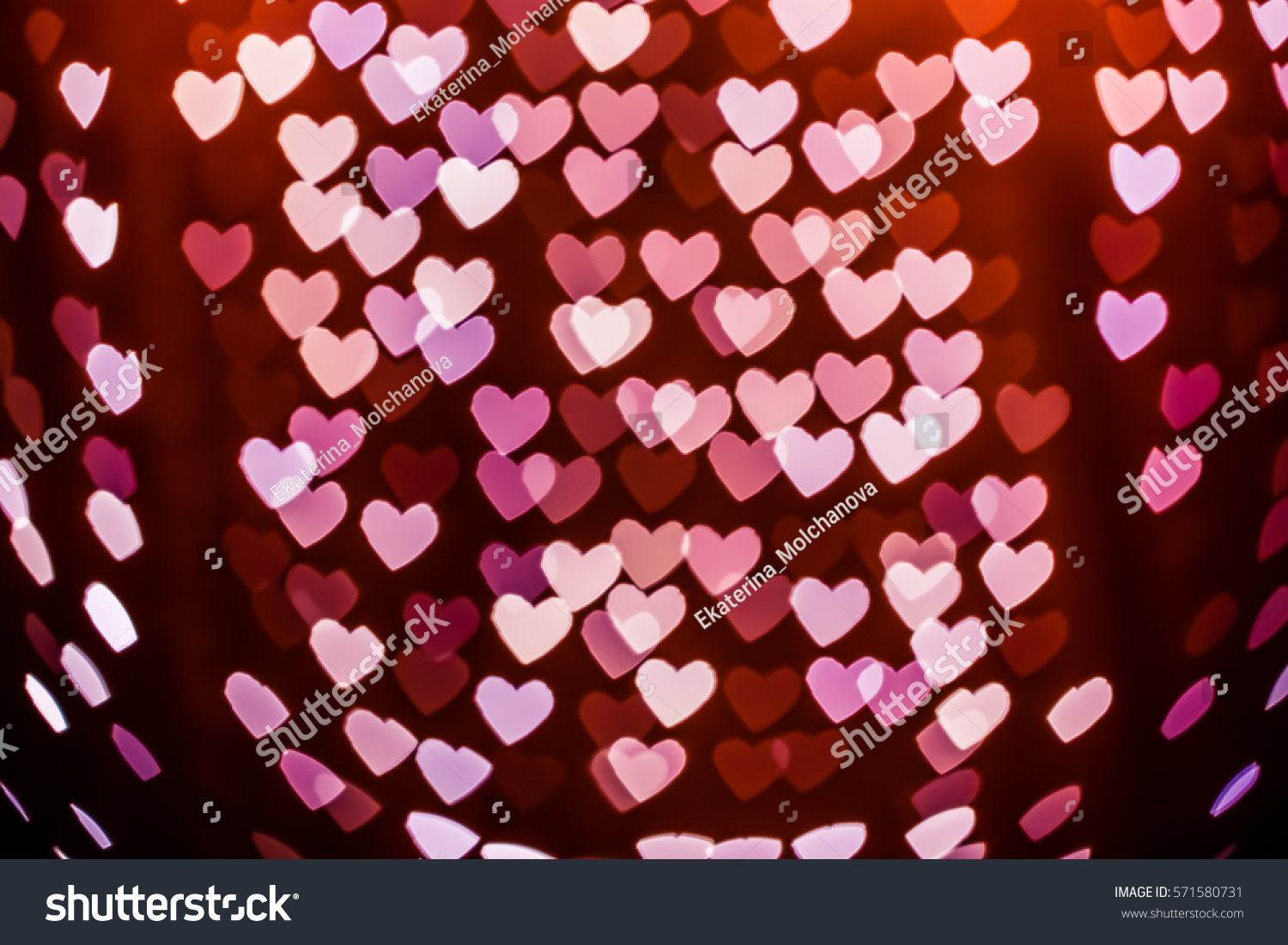 Bokeh Heart Shape Of Light Background Stock Footage Video: Heart Shaped Holiday Blurred Bokeh Background Stock Photo