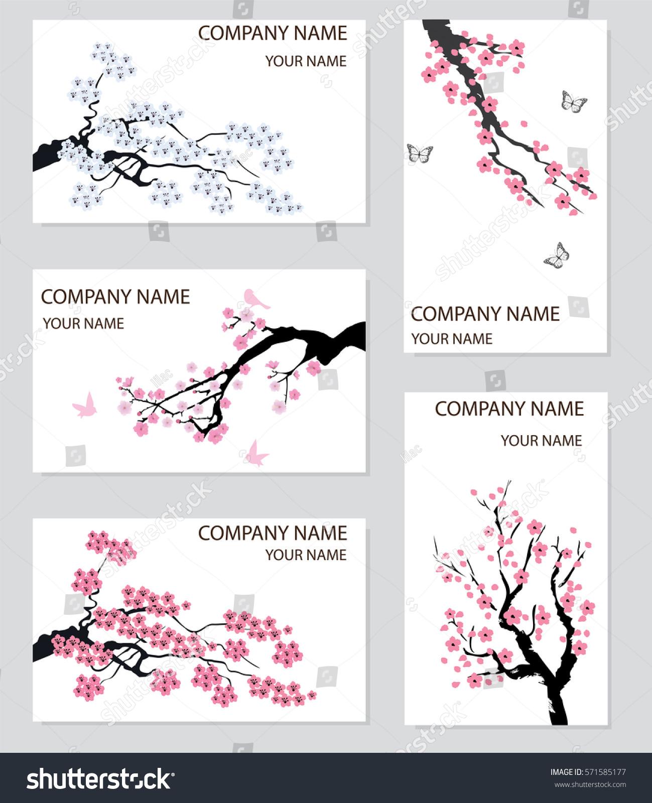 Vector Illustration Set Business Card Cherry Stock Vector 571585177 ...