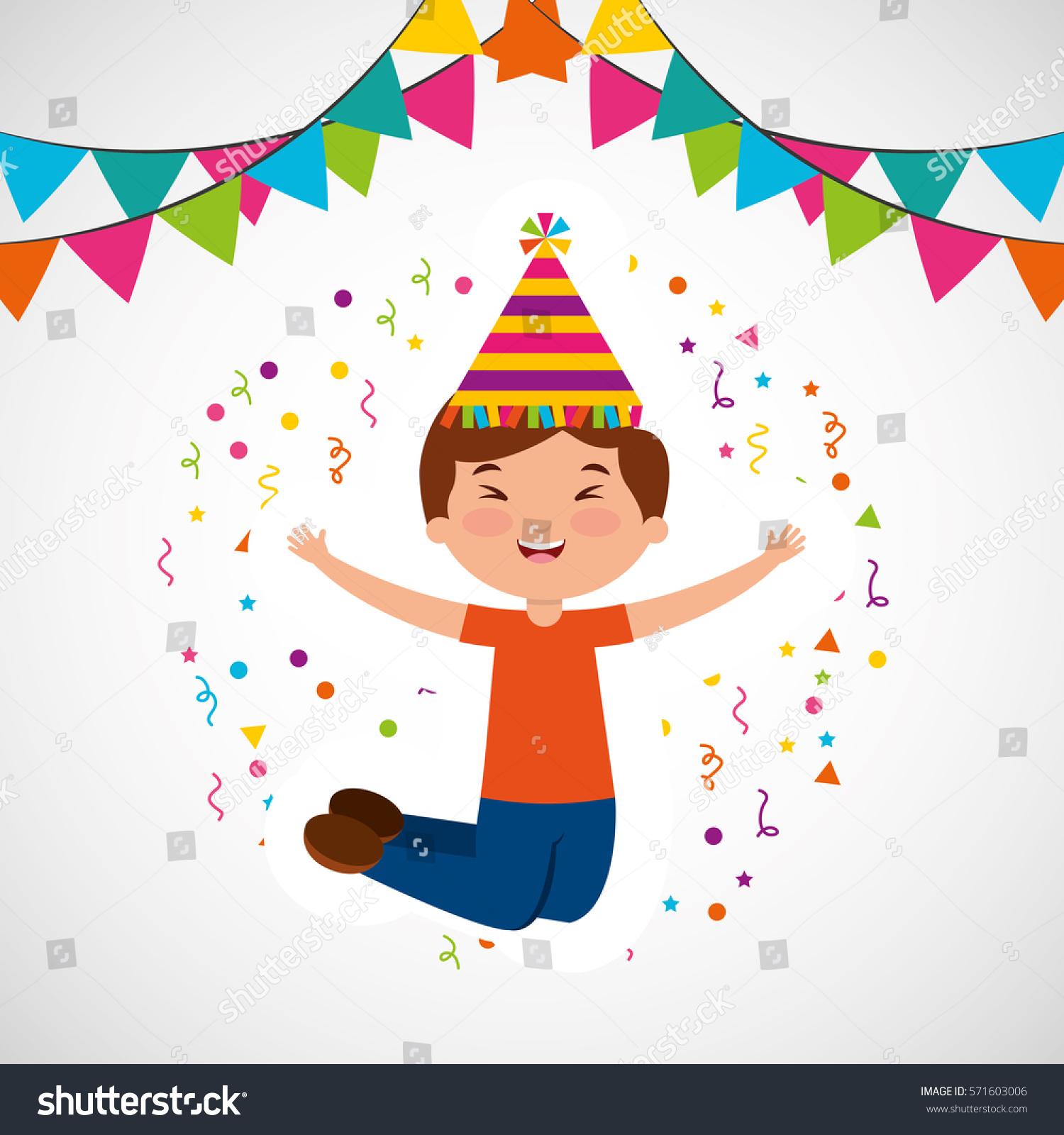Happy Birthday Celebration Card With Kid Vector Illustration Design