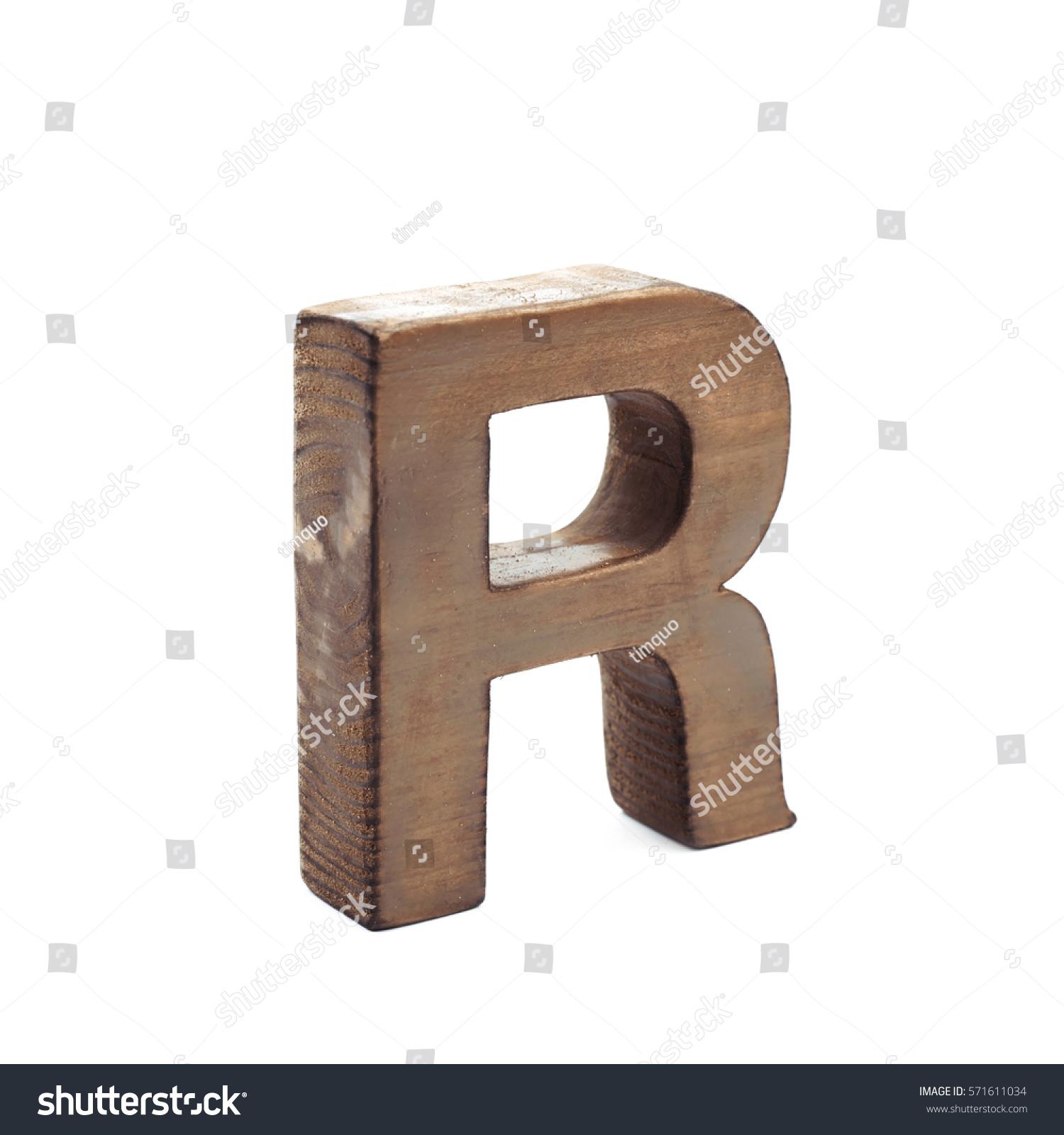 Single sawn wooden letter r symbol stock photo 571611034 single sawn wooden letter r symbol coated with paint isolated over the white background buycottarizona