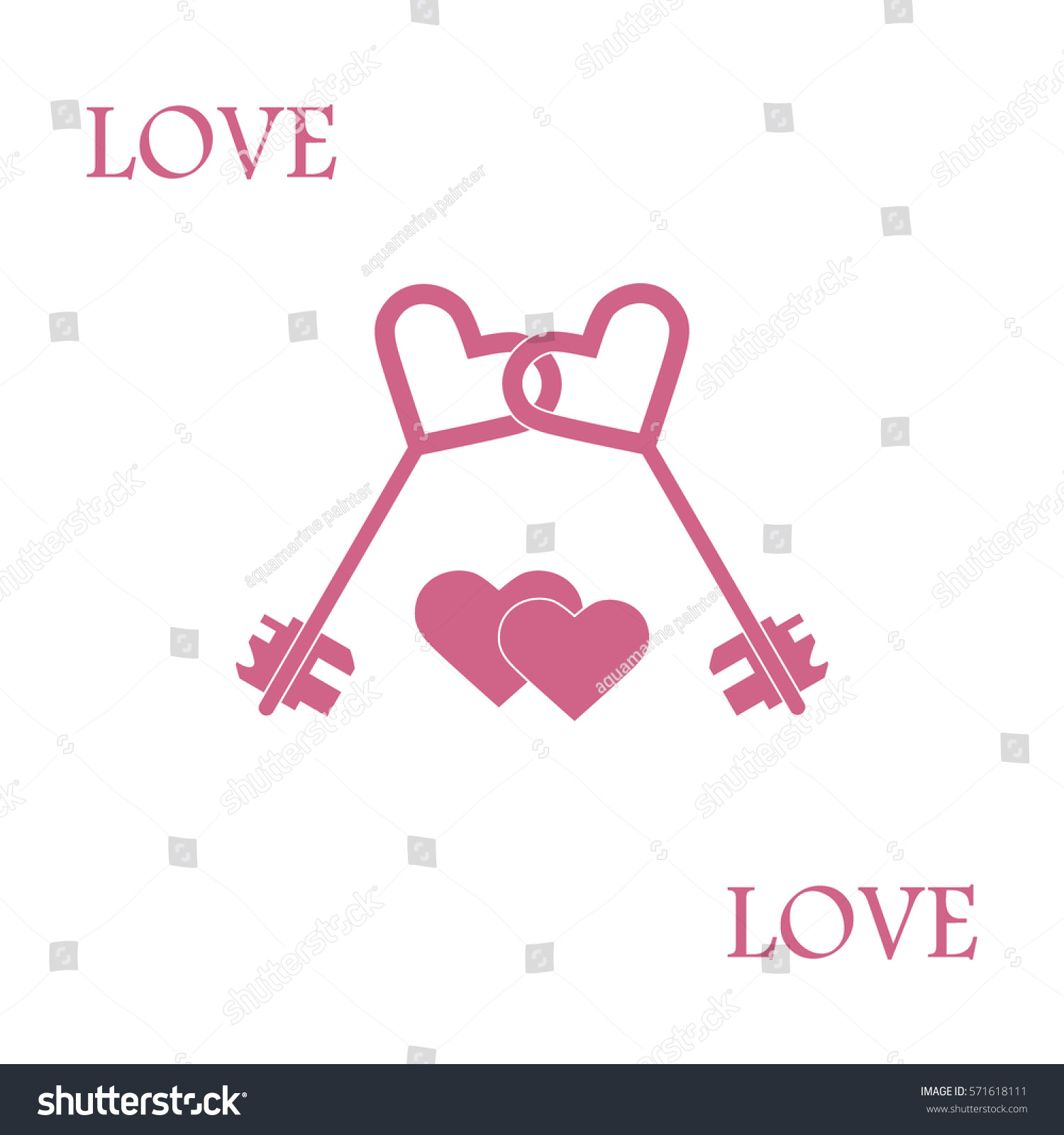Cute vector illustration love symbols heart stock vector 571618111 cute vector illustration of love symbols heart key icon and two hearts romantic collection buycottarizona Images