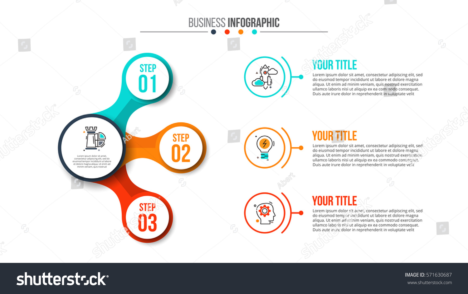 Business Data Visualization Abstract Flat Elements Stock Vector 571630687