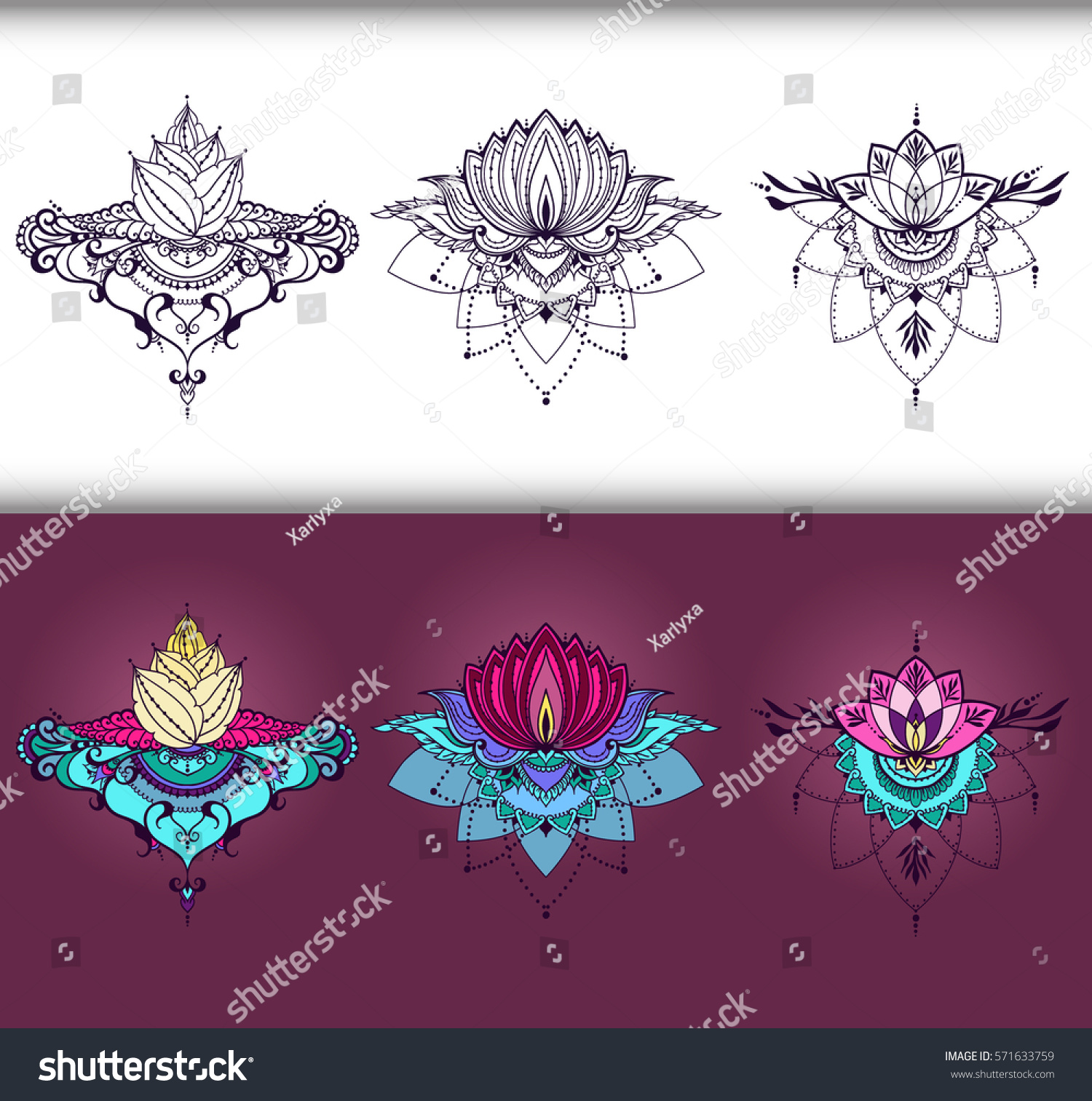 Freehand Drawing Lotus Flowers East Style Stock Vector Royalty Free