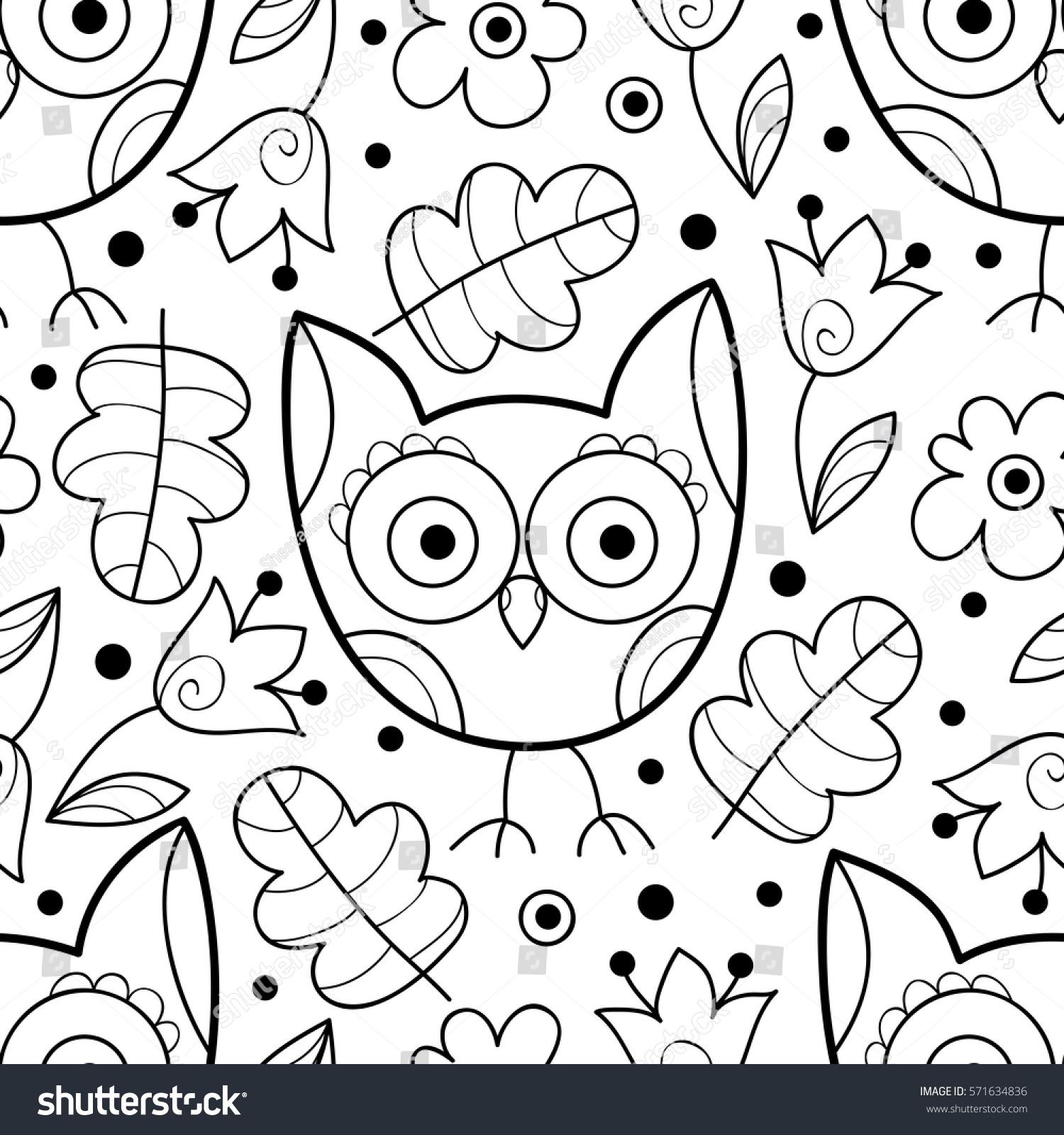 Vector Black White Owl Seamless Pattern Stock Vector