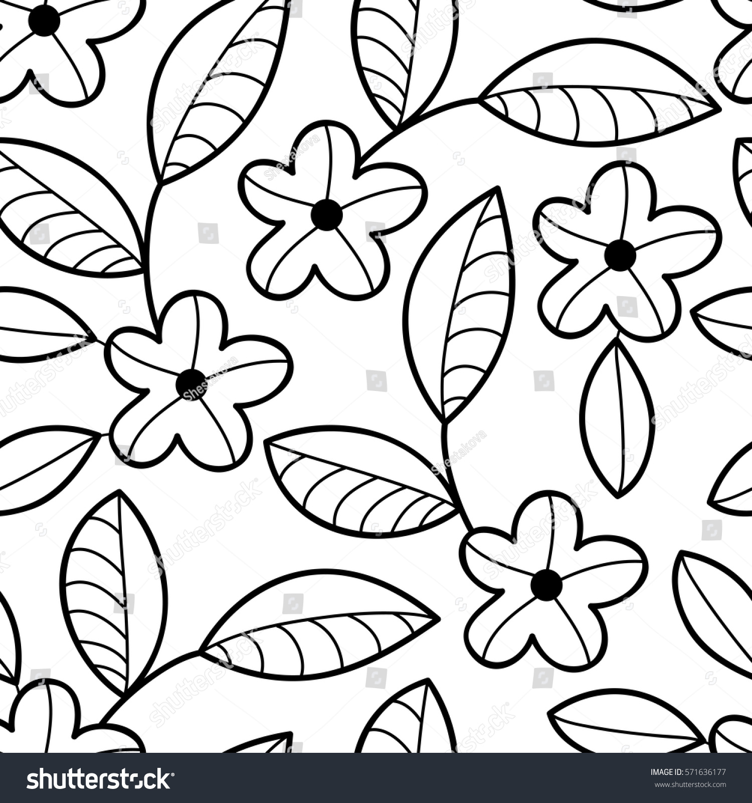 Vector Black White Flower Seamless Pattern Stock Vector Royalty