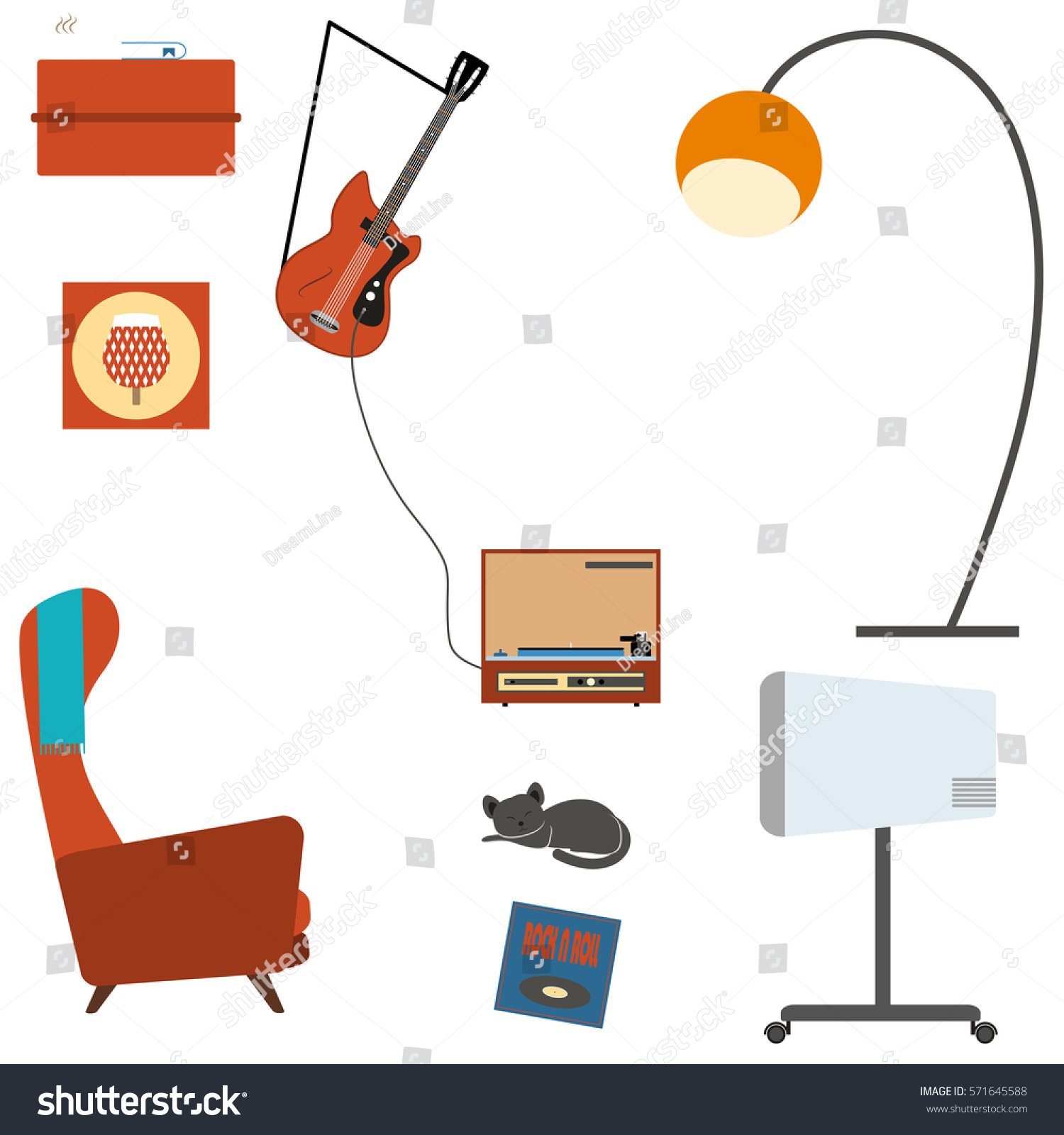 Set Living Room Interior Objects Armchair Stock Illustration ...