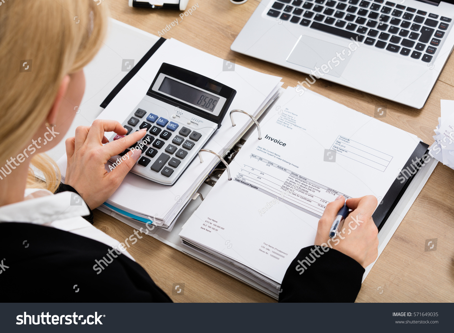 High Angle View Accountant Woman Calculating Stock Photo Royalty - Invoice finance calculator