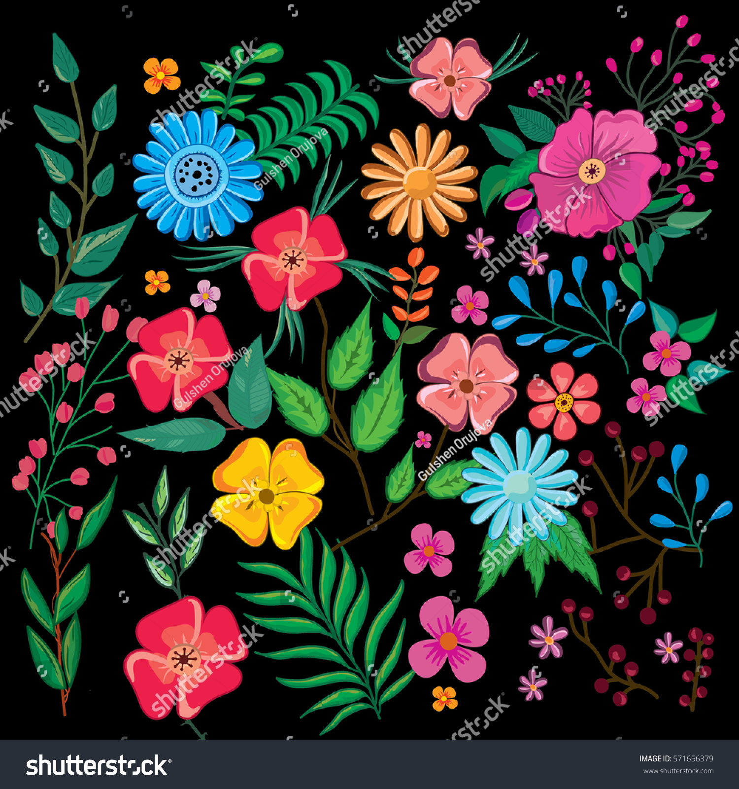 Flowers Pattern On Black Background Colorful Stock Vector Royalty Free 571656379