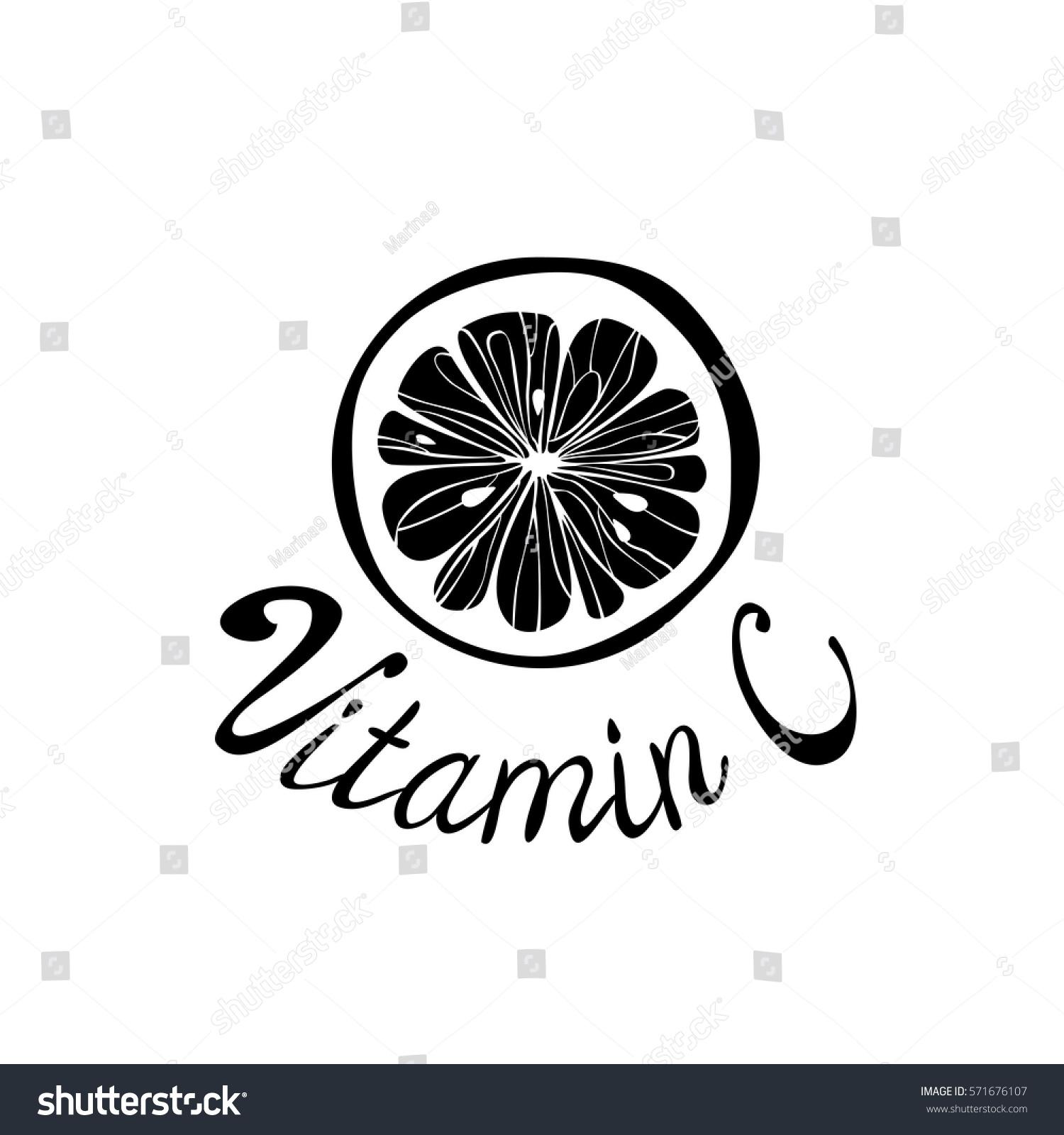 Vitamin C Logo Lemon Citrus Fruit Stock Vector Royalty Free